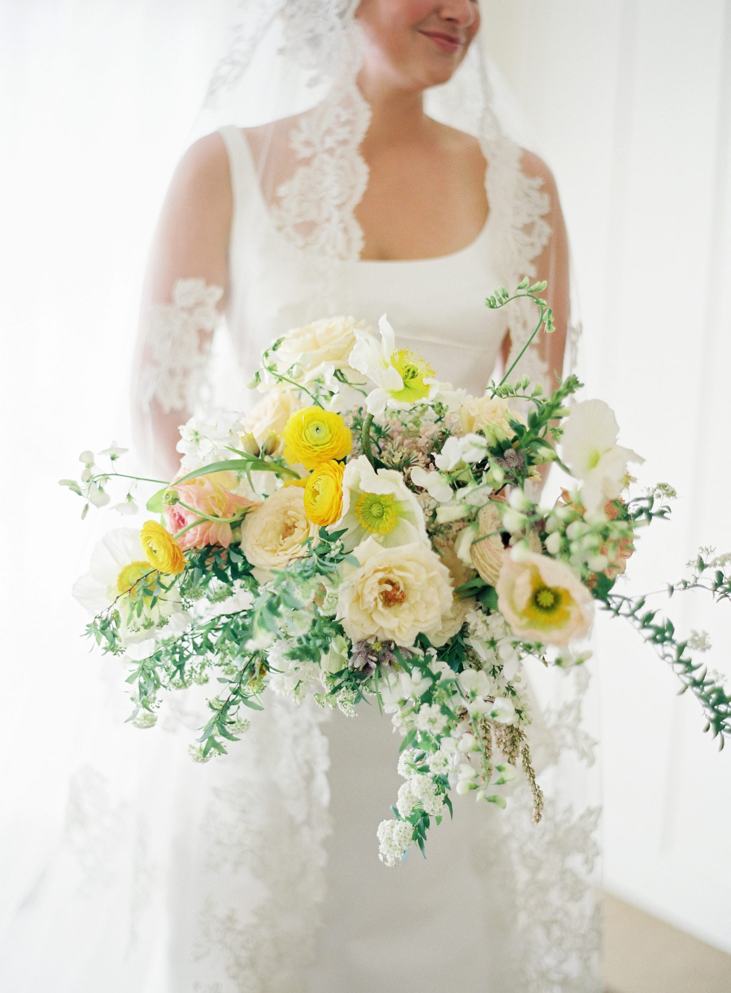 Lush Yellow & WHite Bouquet with Ranunculus