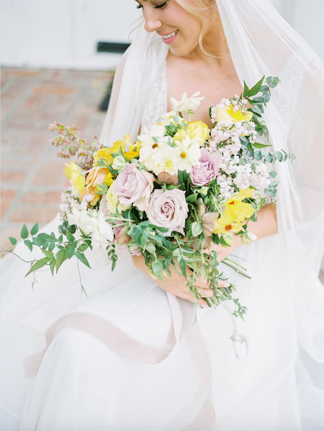 yellow, purple, and green buds bouquet