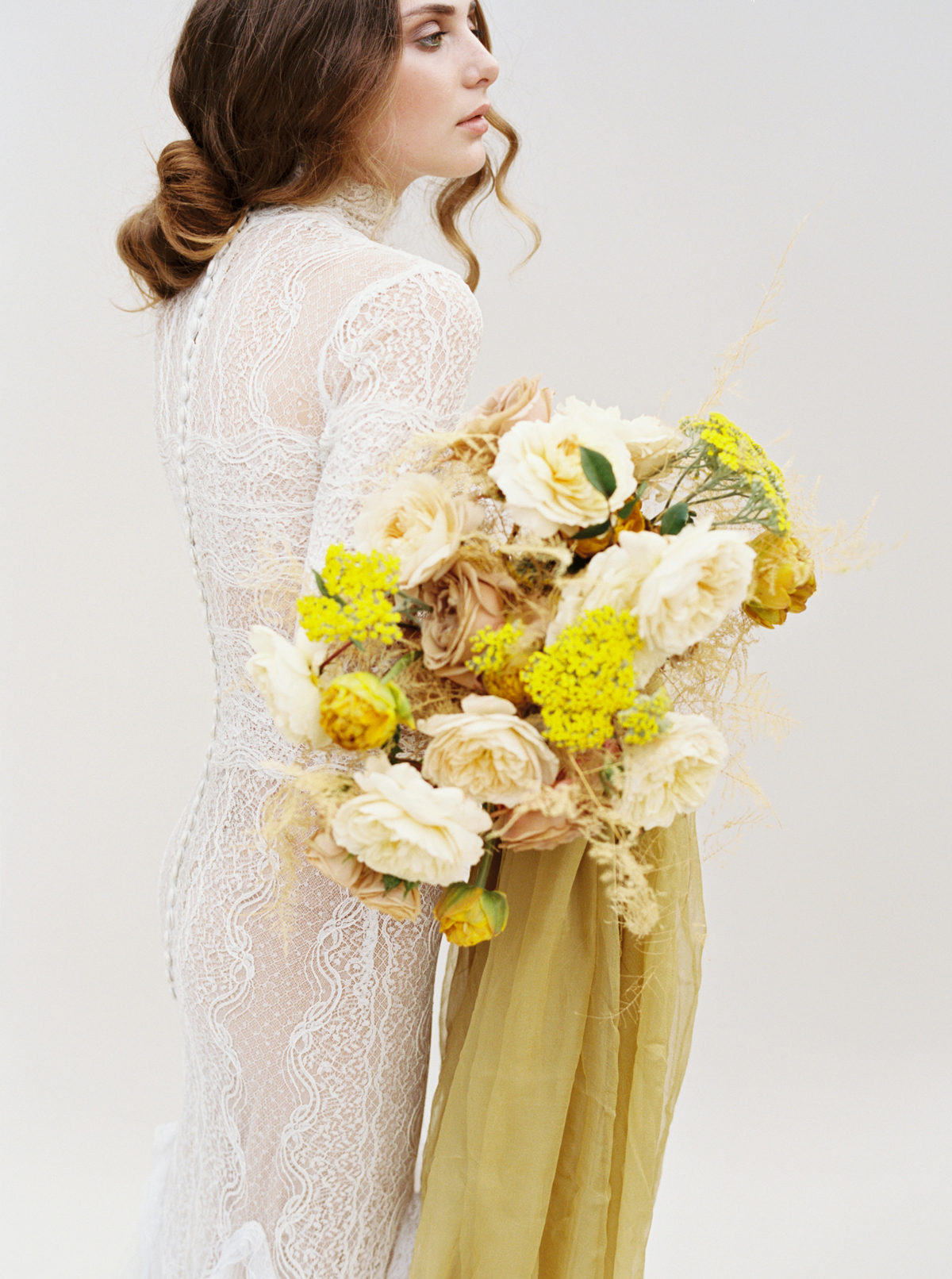 yellow and burnt orange blooms floral bouquet
