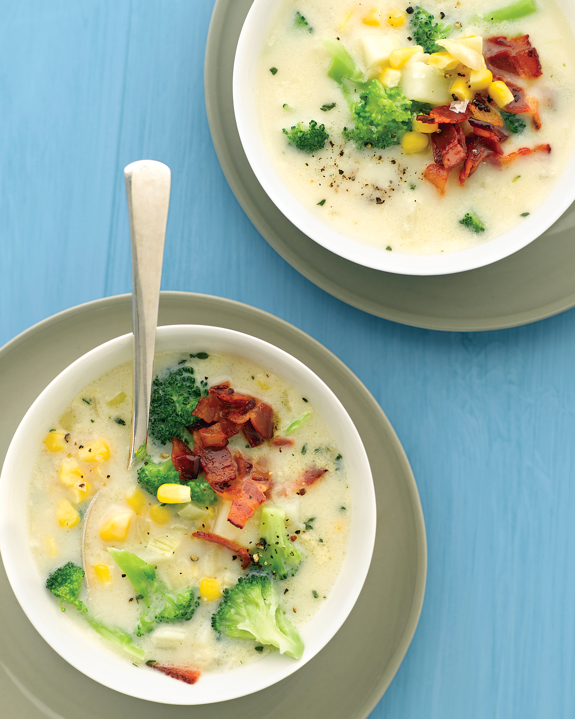 Broccoli Chowder with Corn and Bacon