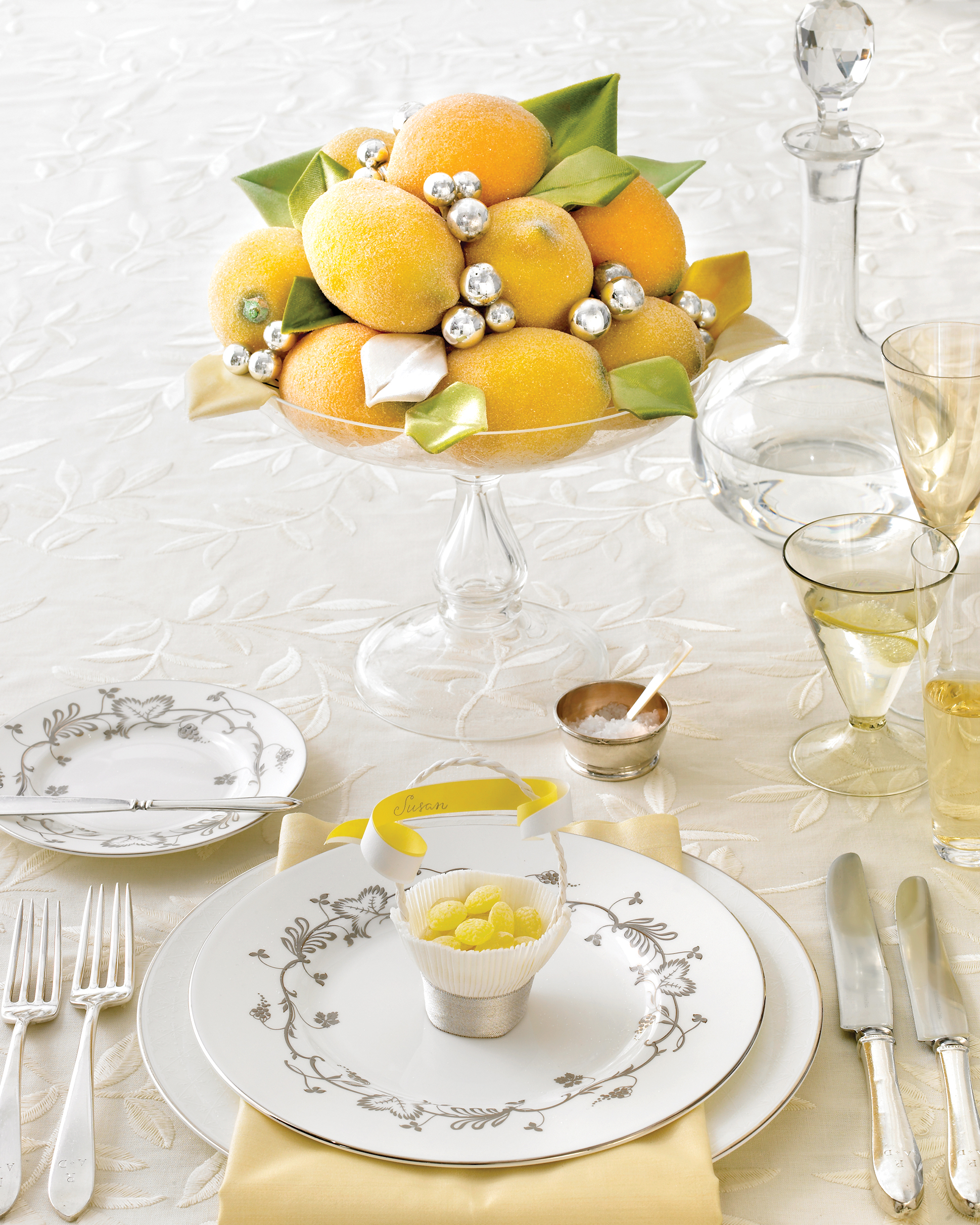 Glittered Faux Lemon Centerpiece