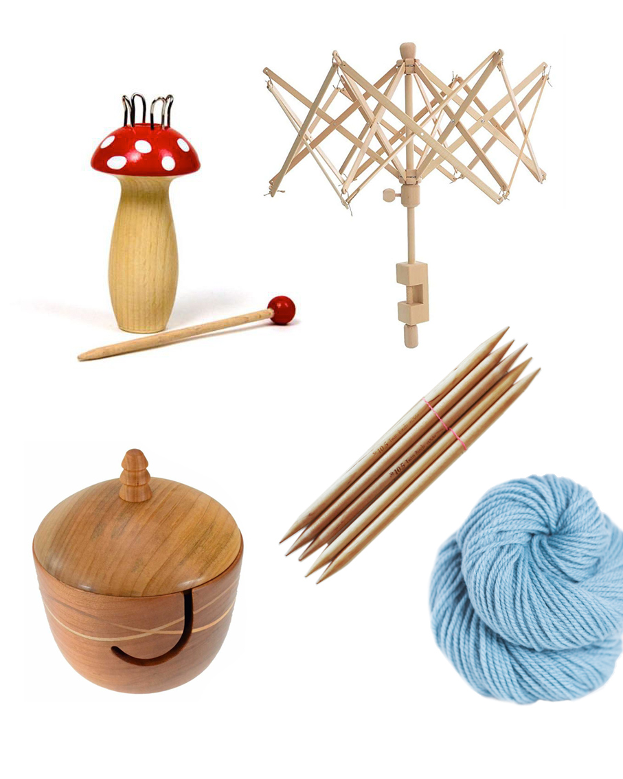 knitting supplies collage yarn needles