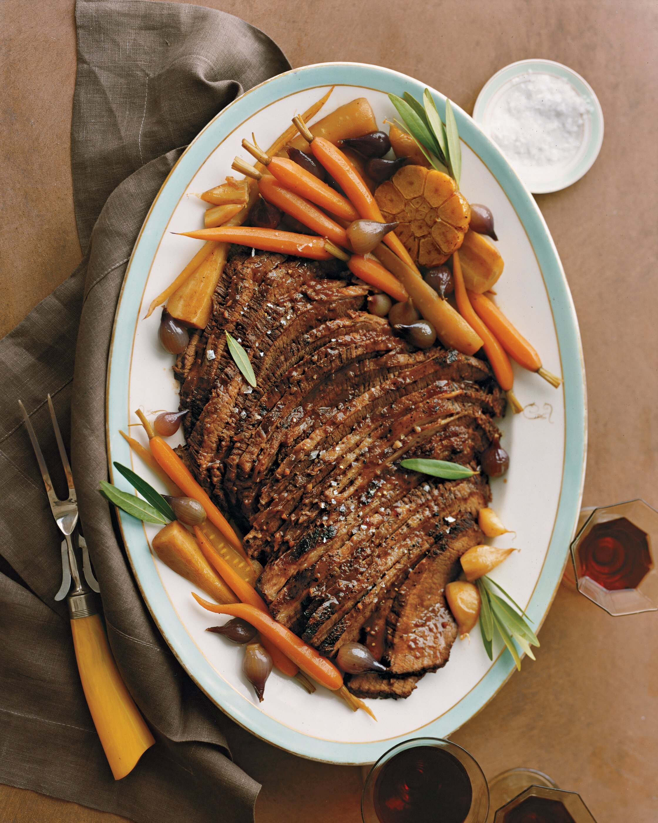BRAISED BRISKET WITH CARROTS GARLIC AND PARSNIPS