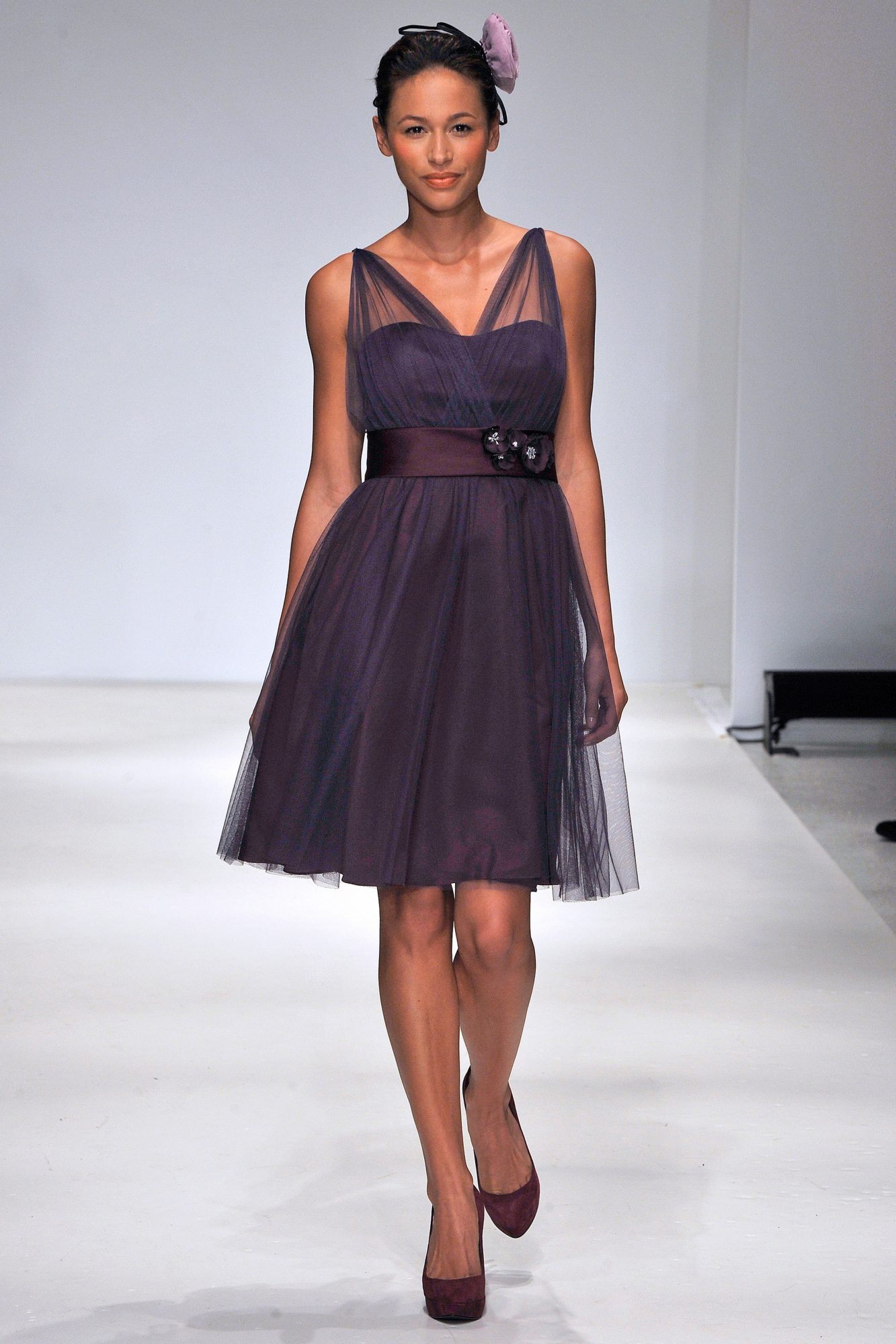 Short Deep Plum Bridesmaid Dress