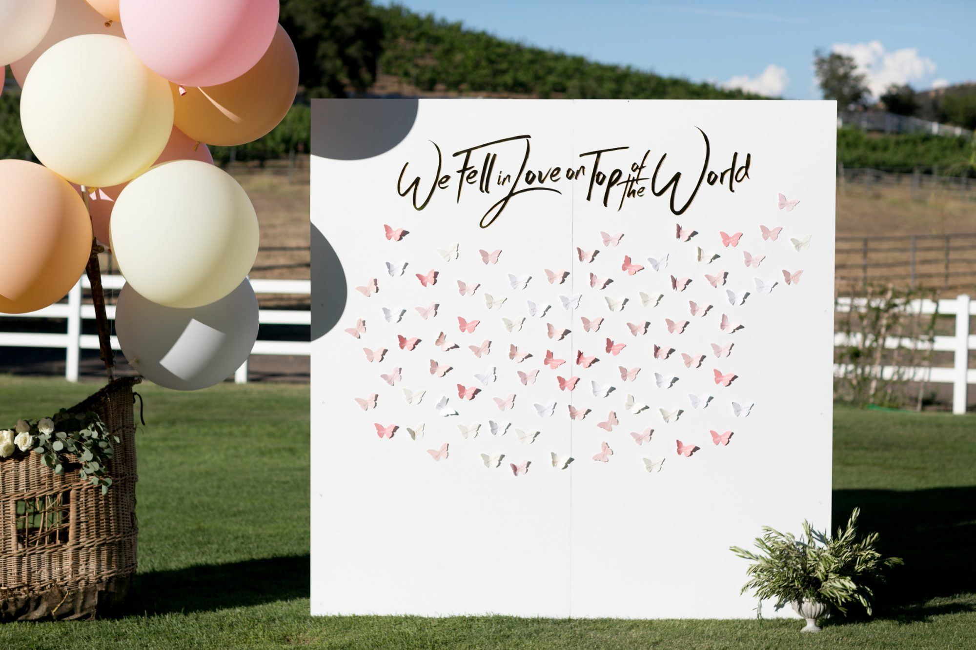 outdoor backdrop decorated with butterflies
