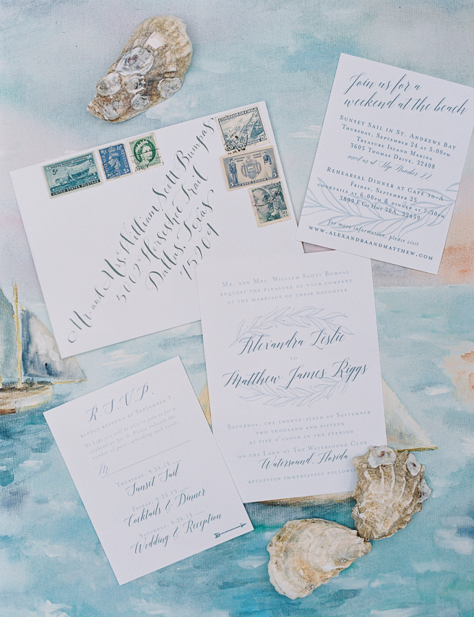 These blue-and-white invites included a leafy illustration, leaving just a subtle hint of the sea through the color scheme. The stationery, bySweet Peach Paper, served for a Floridacelebration.