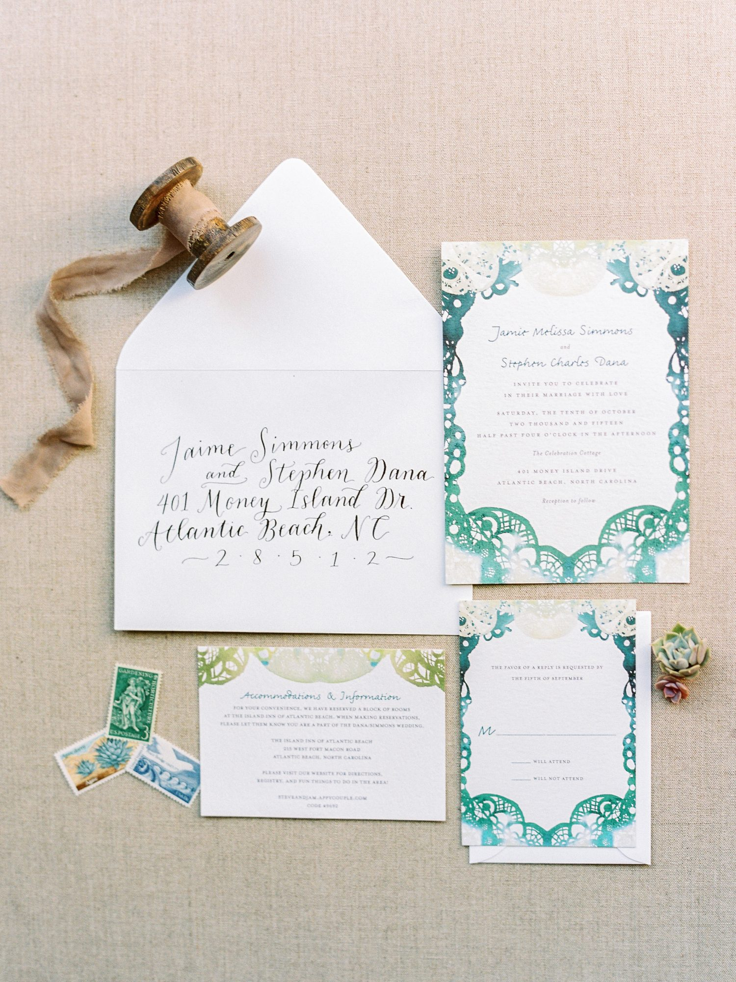 These blue-green invites for a North Carolina wedding mixed beachy and boho vibes. The watercolor pattern was bright and welcoming and great for an oceanside escape.
