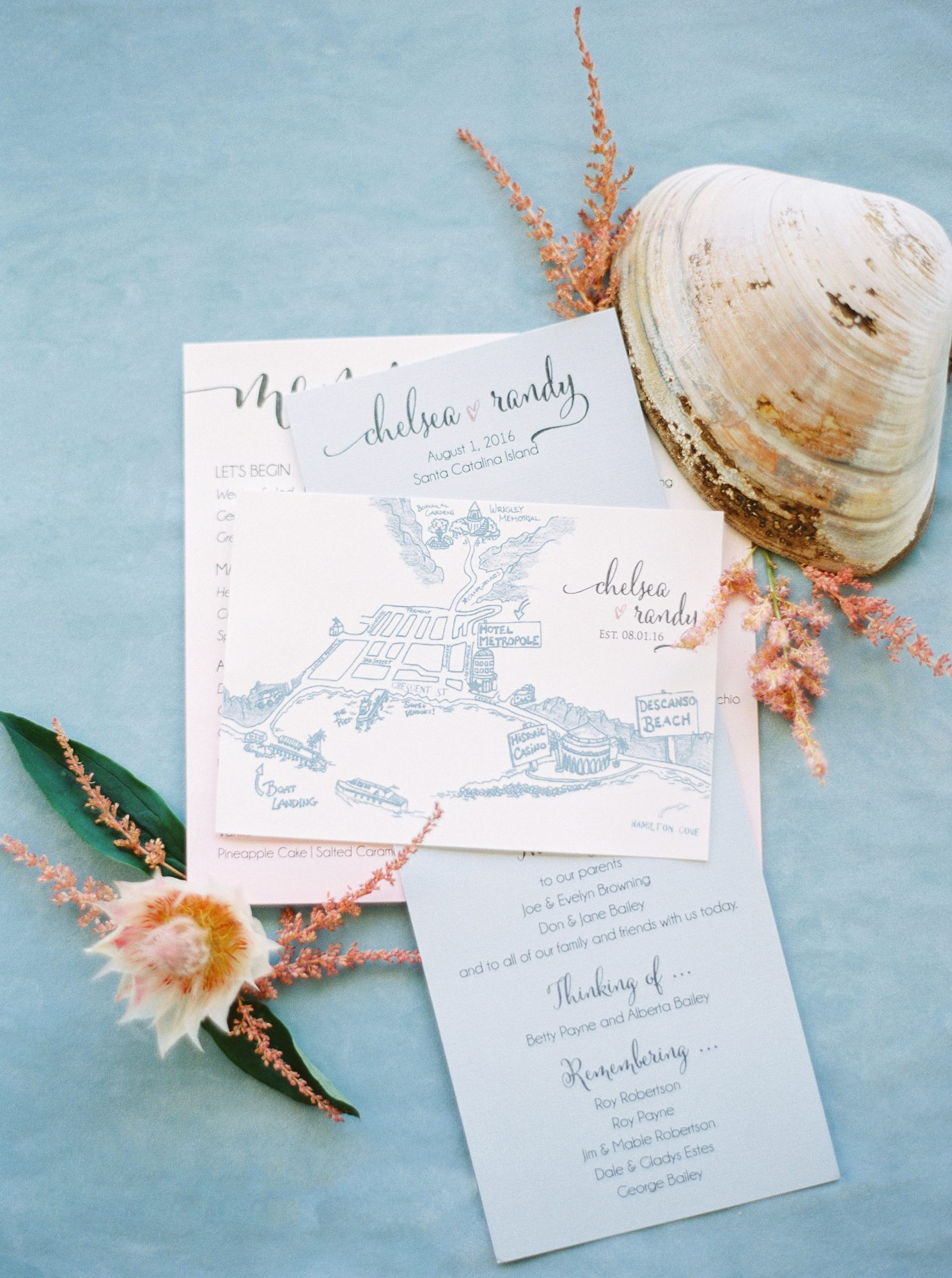 A blue illustration made this Celebrations in Paper stationery a lovely preview for its California beach wedding.