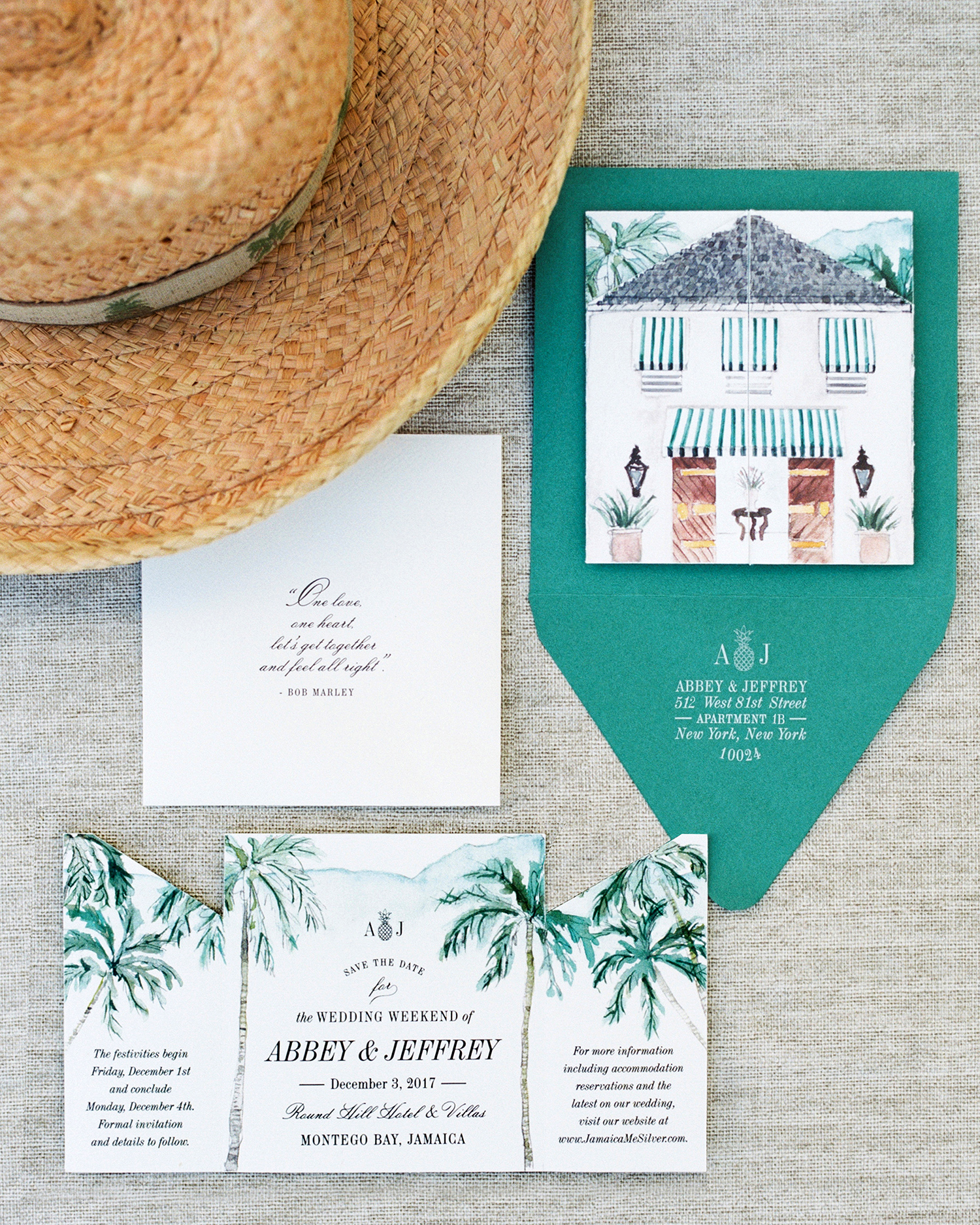 abbey jeffrey wedding tropical save-the-dates jamaica