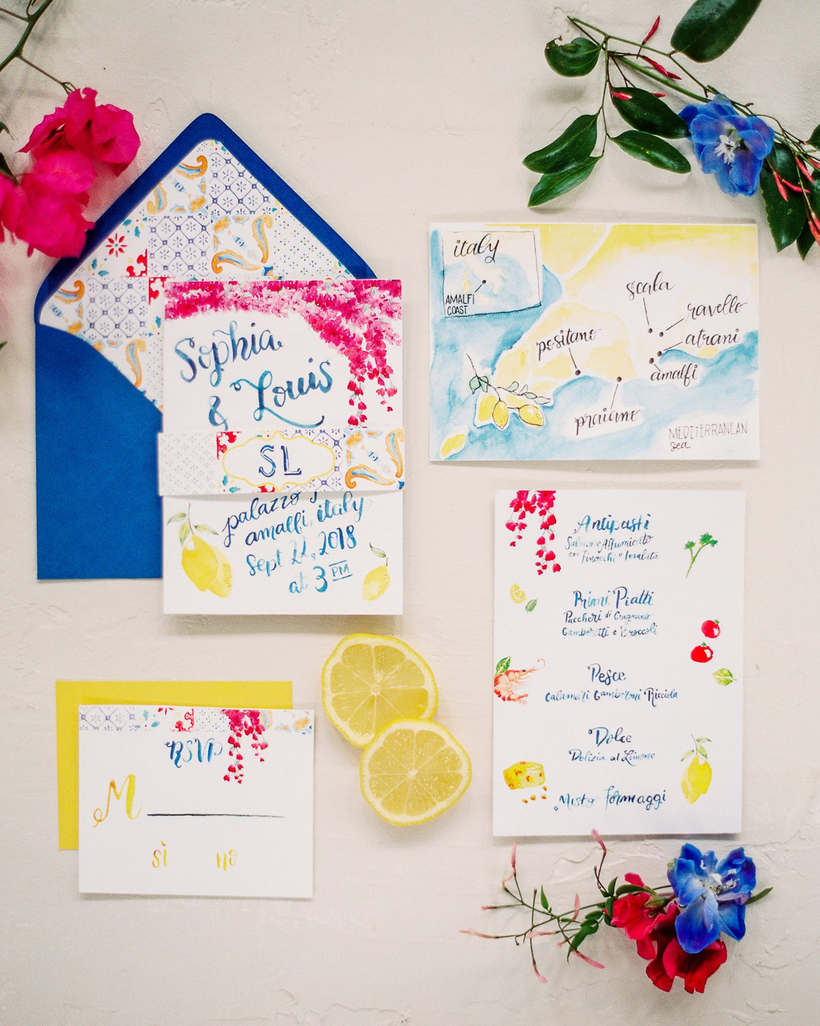 Jessica Frampton designed this lemon-infused stationery suite with the Amalfi coast in mind.