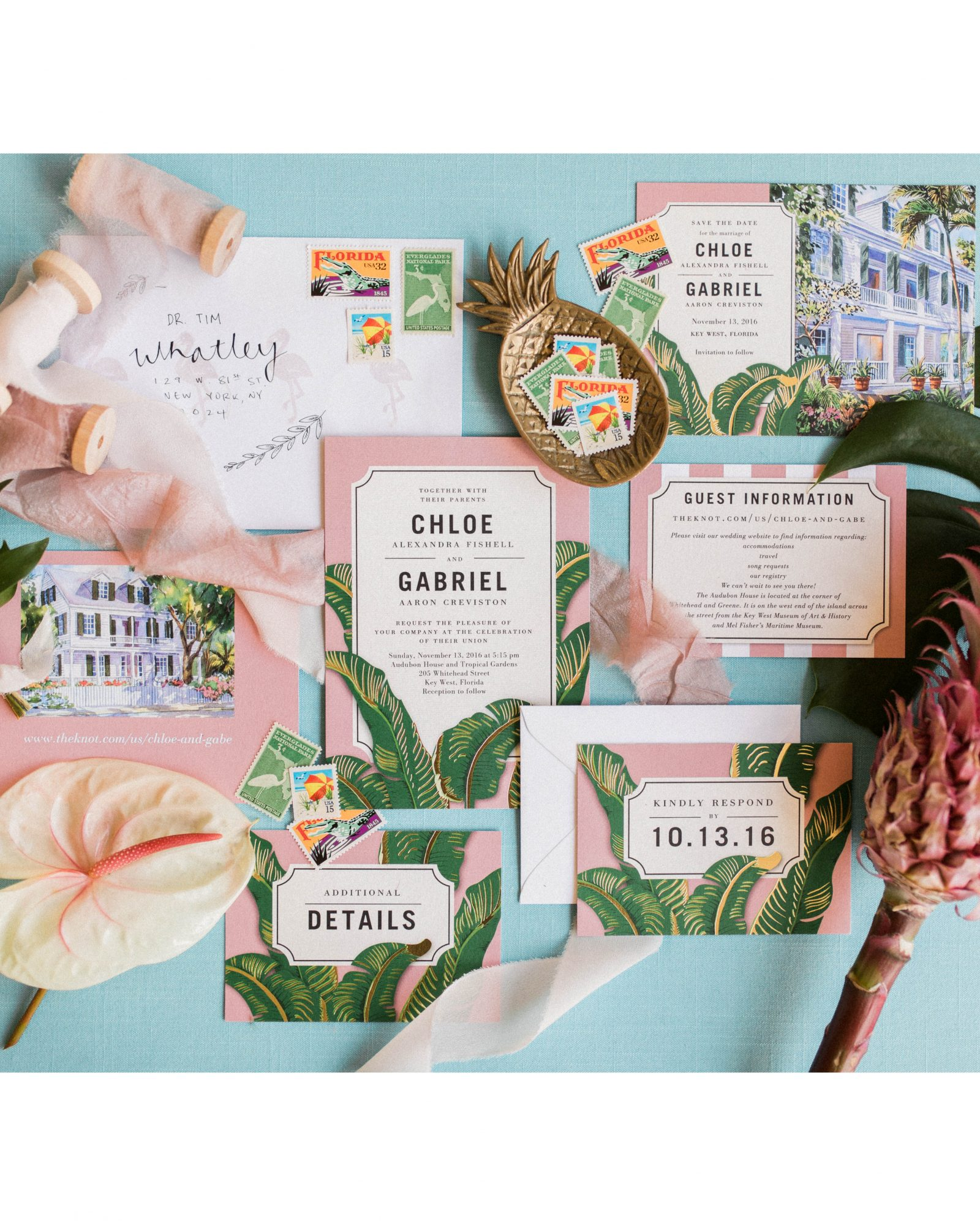 This couple chose the perfect pink-and-green Wedding Paper Divas invitations for their Key West nuptials.