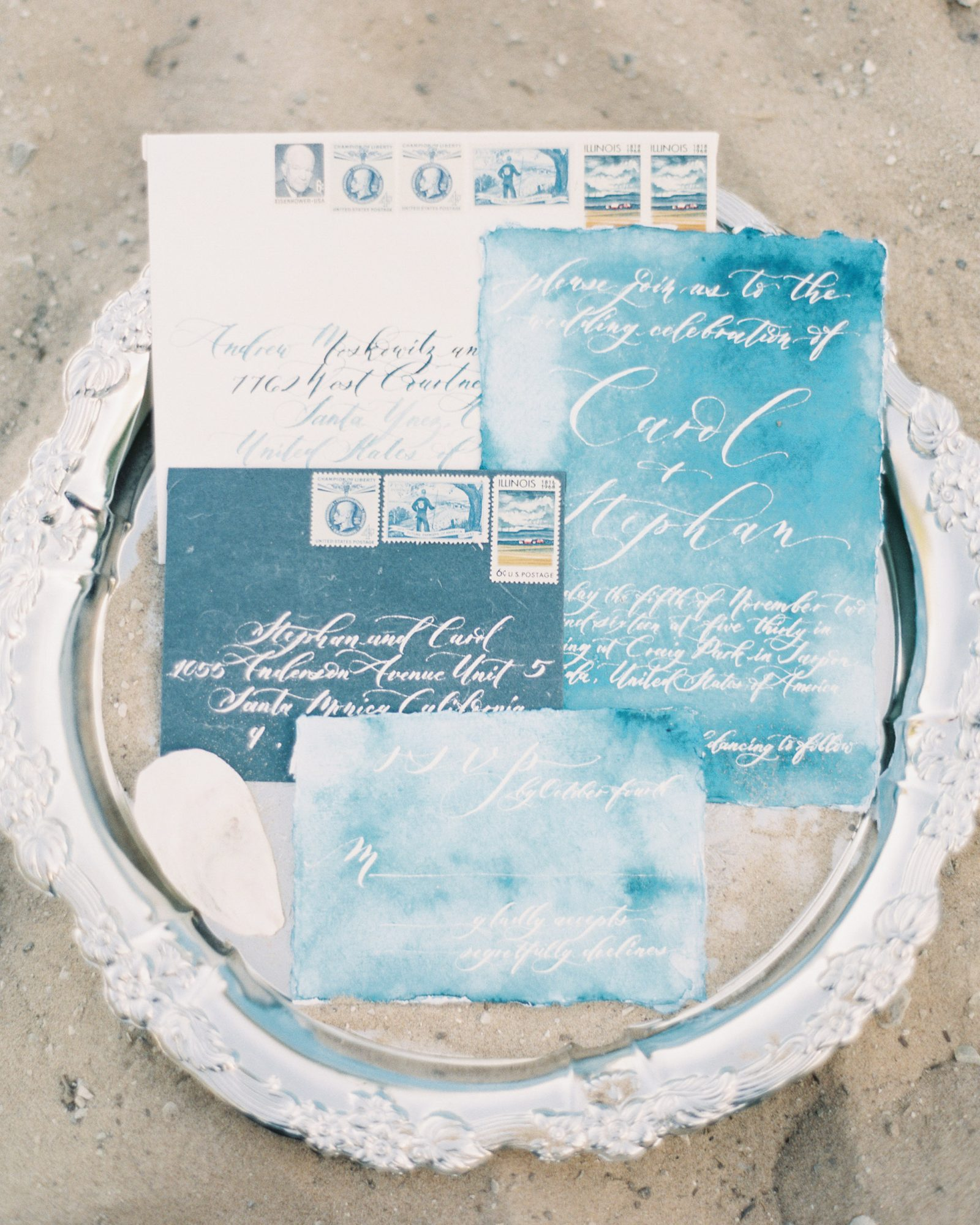 Lest we forget all the freshwater beaches out there, here's an example designed for a Lake Michigan celebration. Seniman Calligraphy used dreamy watercolors to create the stationery suite.