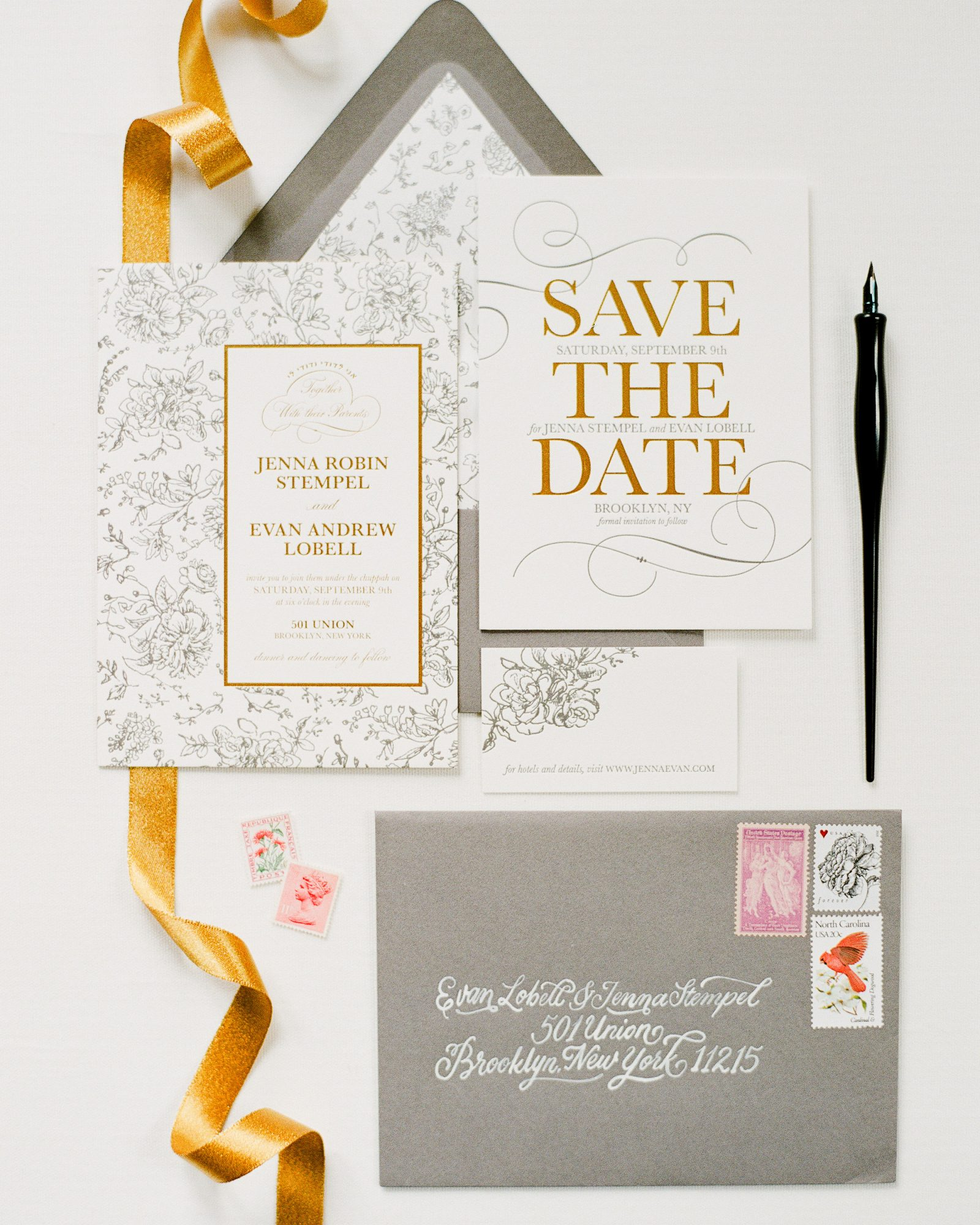 classic save the dates metallic gold details