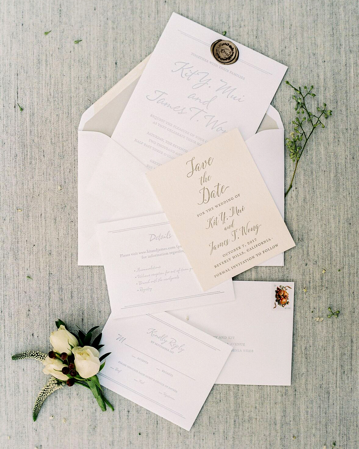 classic save the dates stark off white