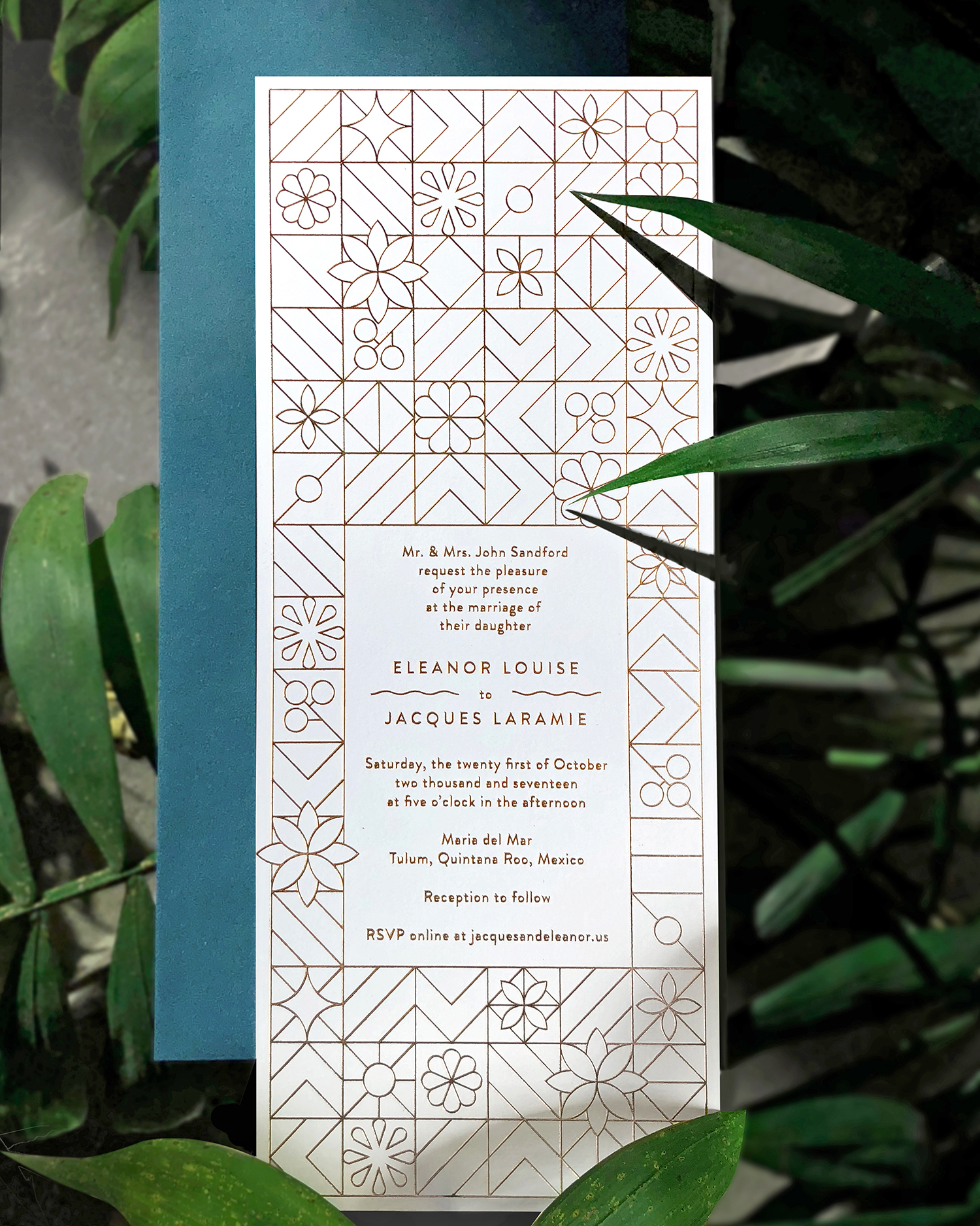 Tile-inspired Rohner Press invitations (mailed in blue-green envelopes) introduced this Tulum beach wedding.