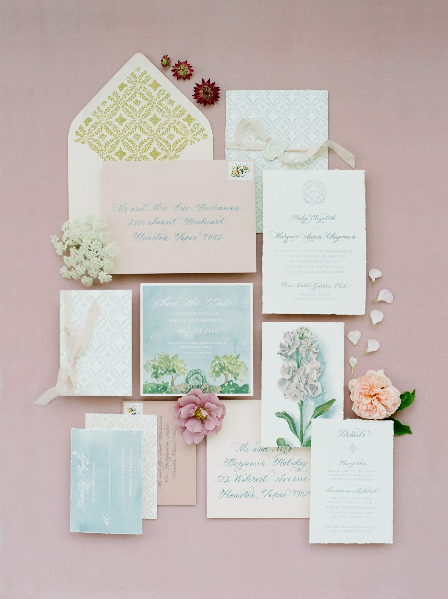 stationery with floral itinerary card