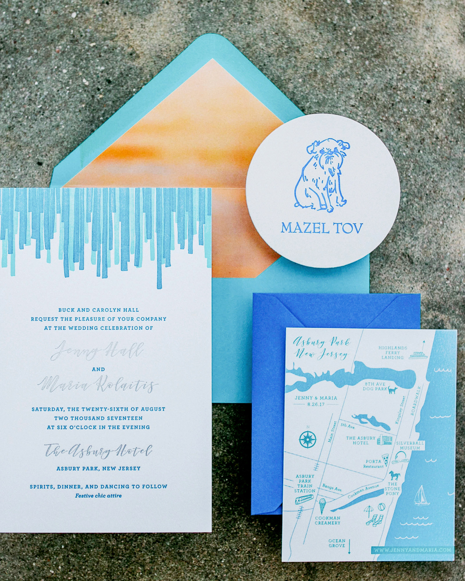 Fourteen-Forty designed the custom invitation suite, which was part modern, part beachy. The invite was a play off the multi-colored streamer installation by The Color Condition that would hang in the center of the reception room. And the brides' pup Rita, made an appearance on the response card, as well as coasters (shown here).