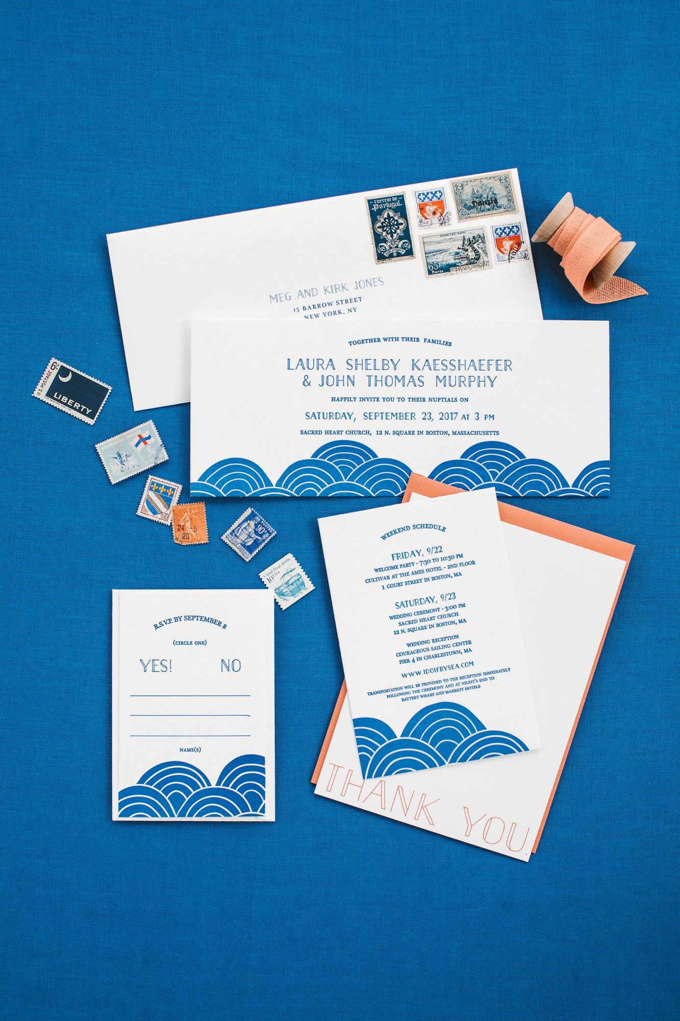 Black Lamb Studio designed these contemporary invitations with a modern pattern of rounded blue waves.