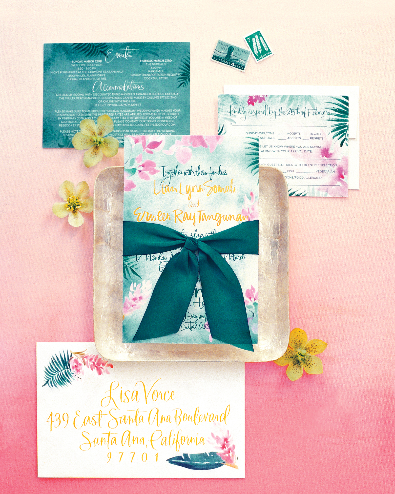 Inform your guests of your tropical venue by incorporating thematic motifs right onto your invitations. These Julie Song paper goods hinted at this Hawaiian destination by using the state's flower, hibiscus, throughout the suite.