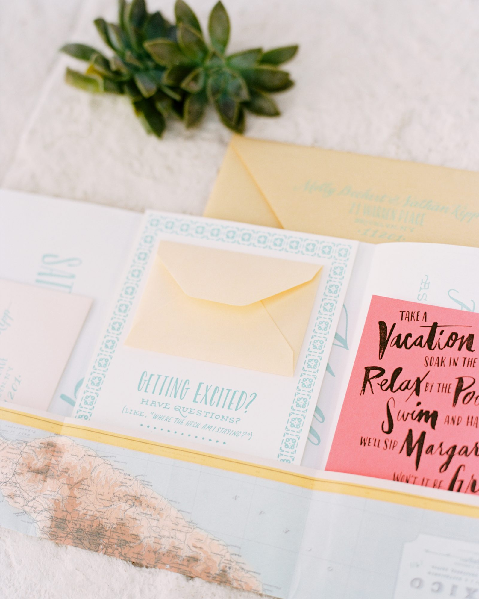 Ladyfingers Letterpress crafted the stationery suite for this couple'sdestination wedding in Punta Mita. The invitation was actually a poster andfeatureda map of Mexico.