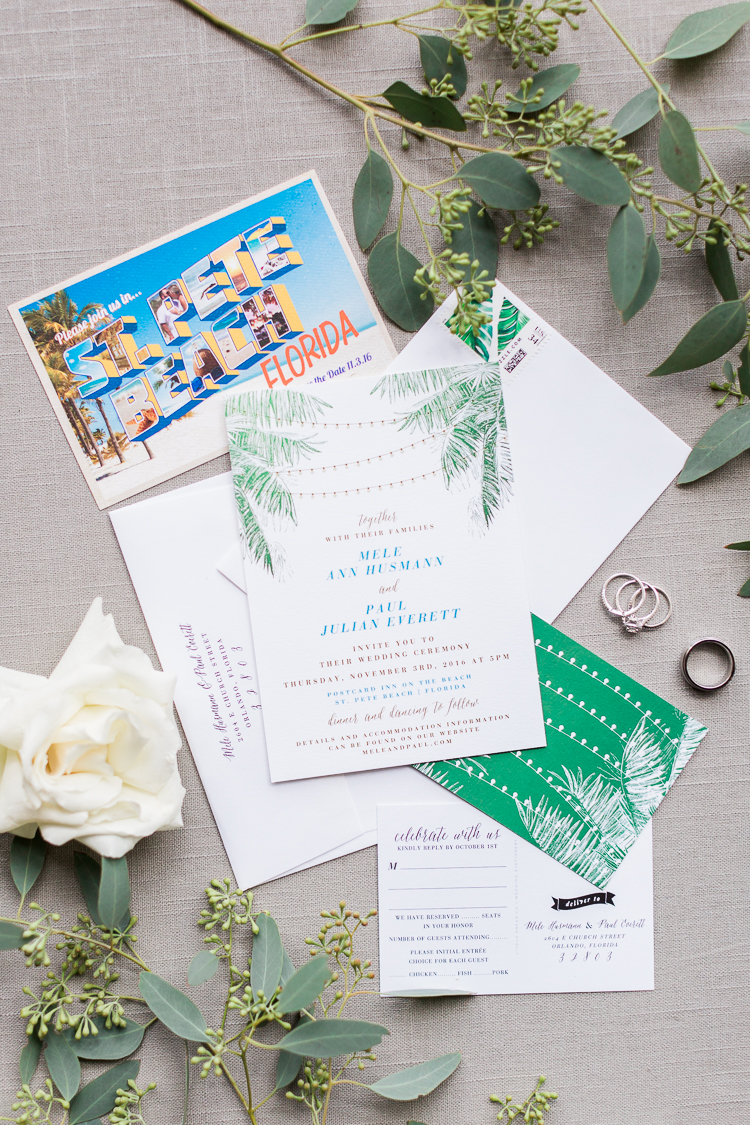 This fun, vibrant Citrus Press Co. suite had plenty of tropical details. Palm fronds, string lights, and a photograph of the location were sure to draw guests in.