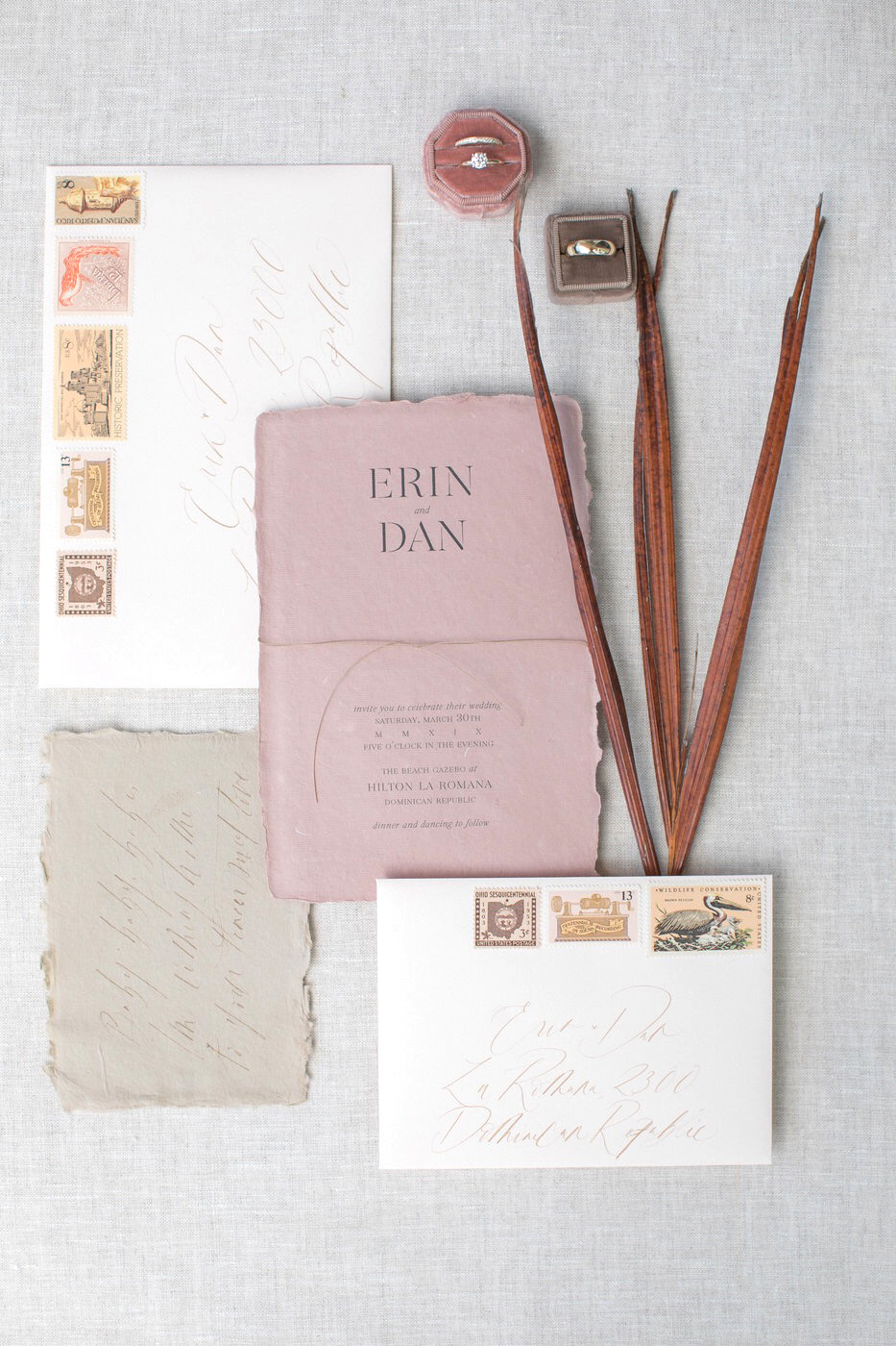 dusty rose and brown rustic wedding invitations