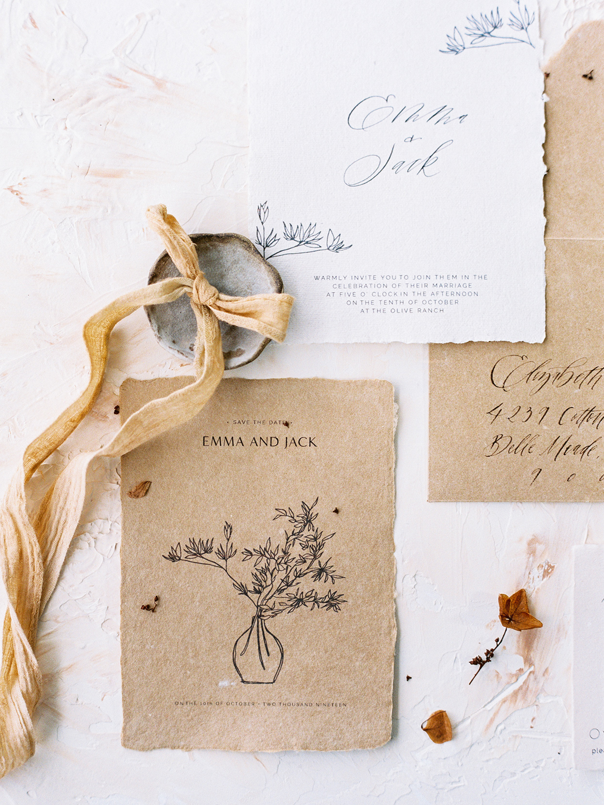 rustic wedding invitations with flower illustration