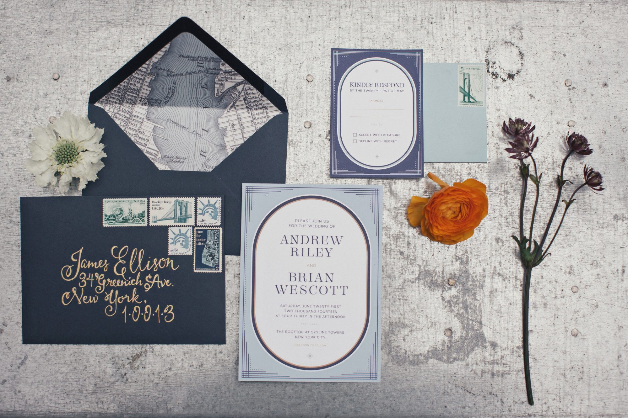 dark blue vintage invites with envelope flap map illustration