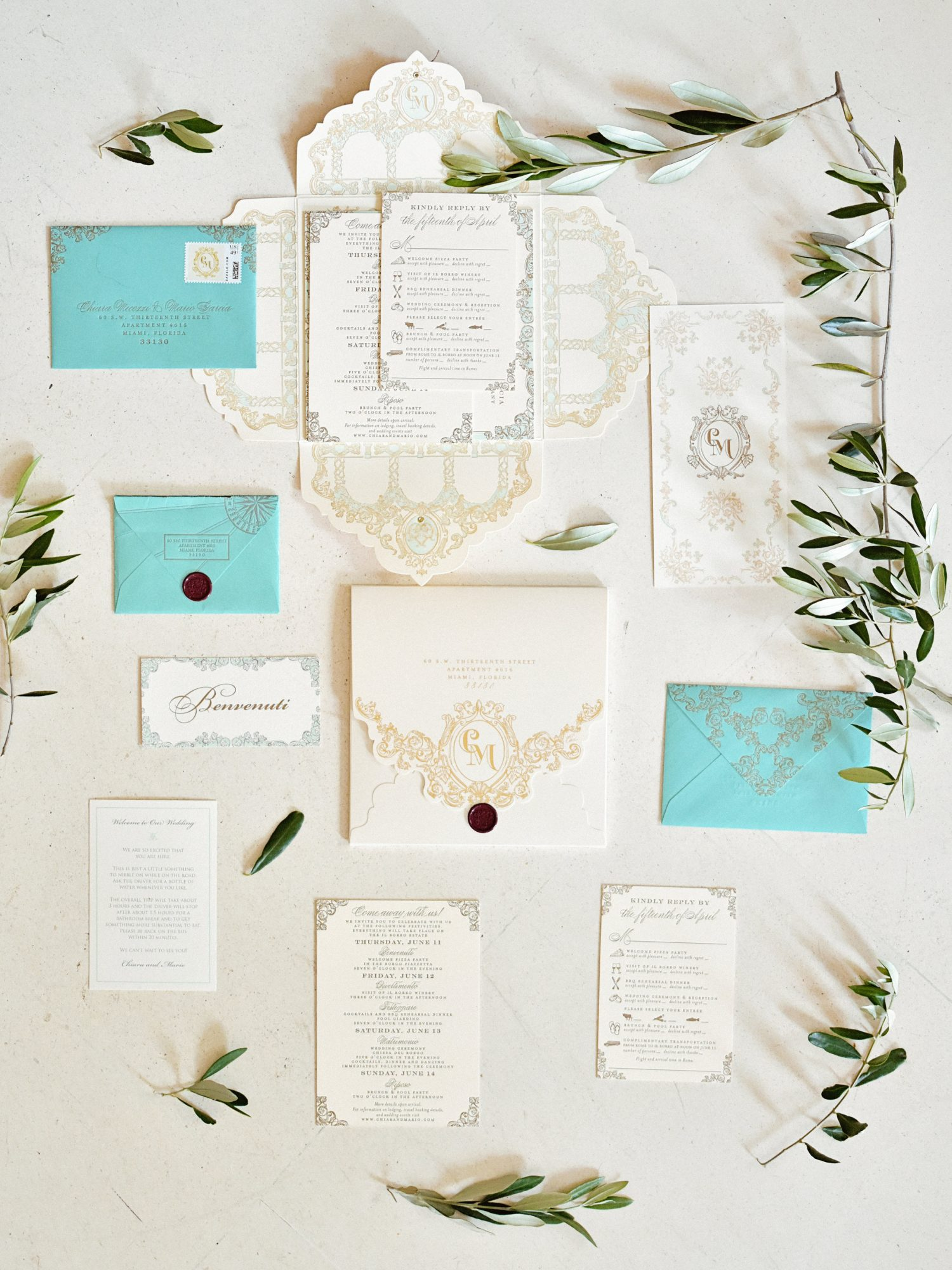 vintage invite with turquoise and gold accents