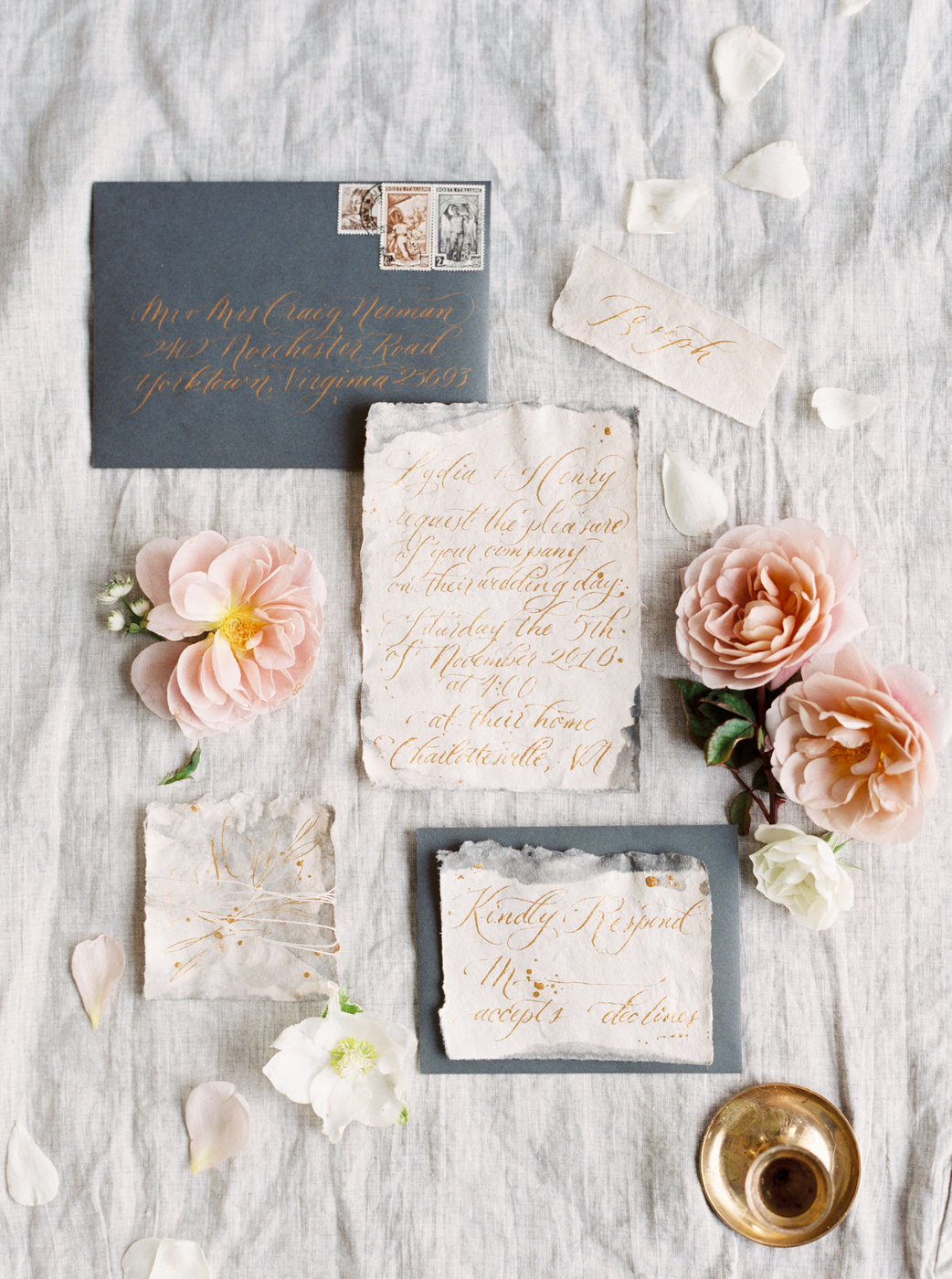 slate gray and white vintage invites