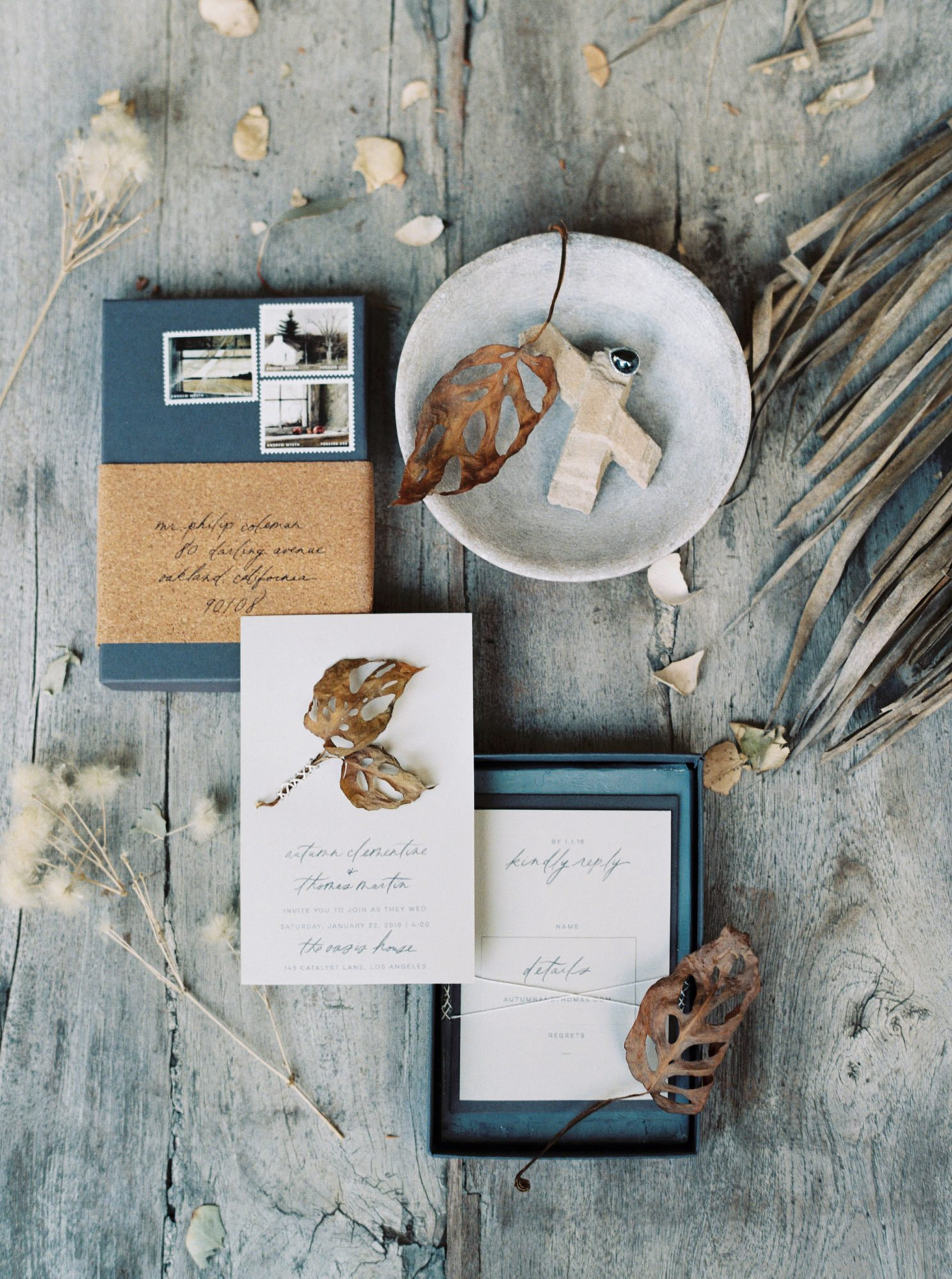 Wedding Invitations in Blue Boxes