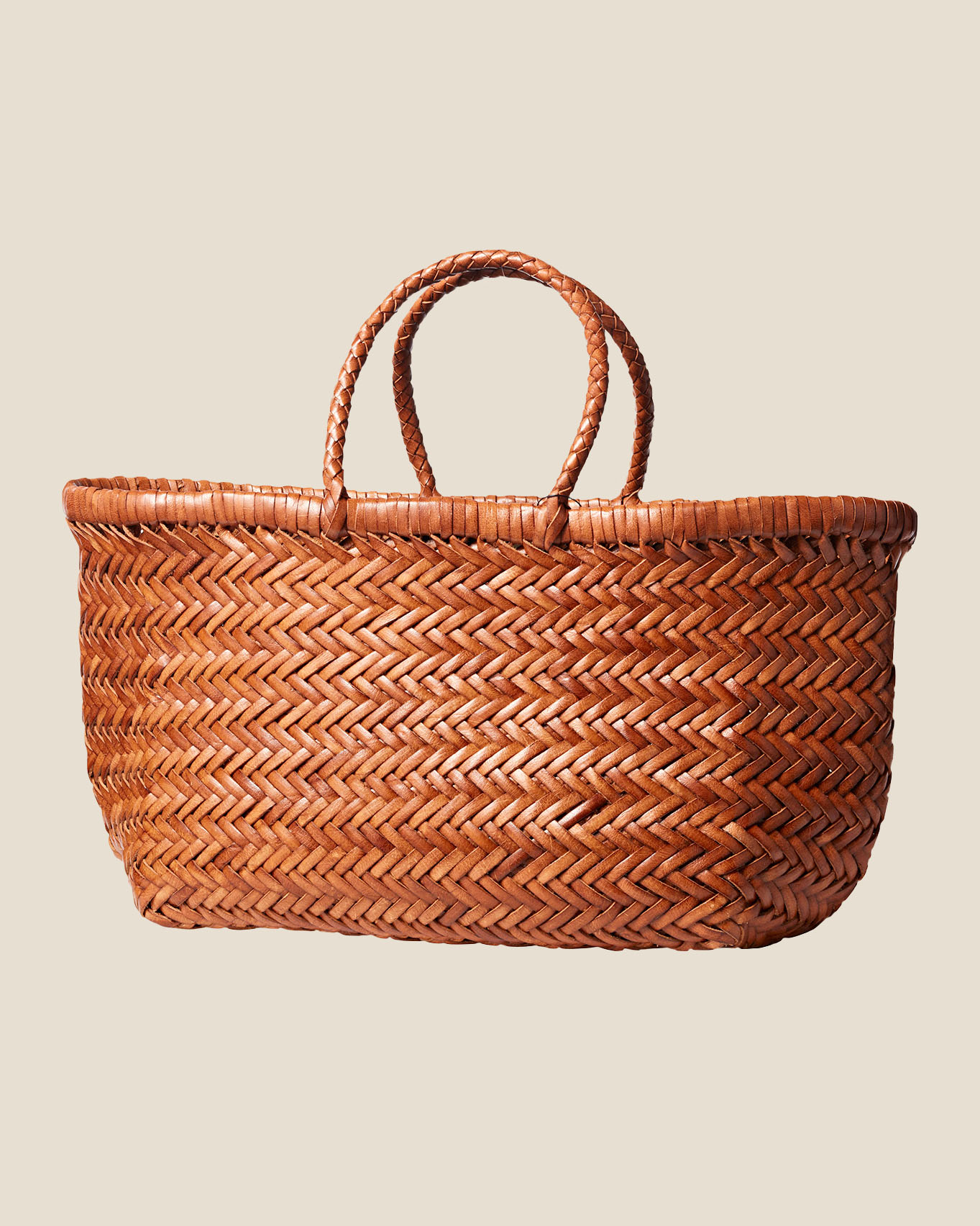 leather tote basket