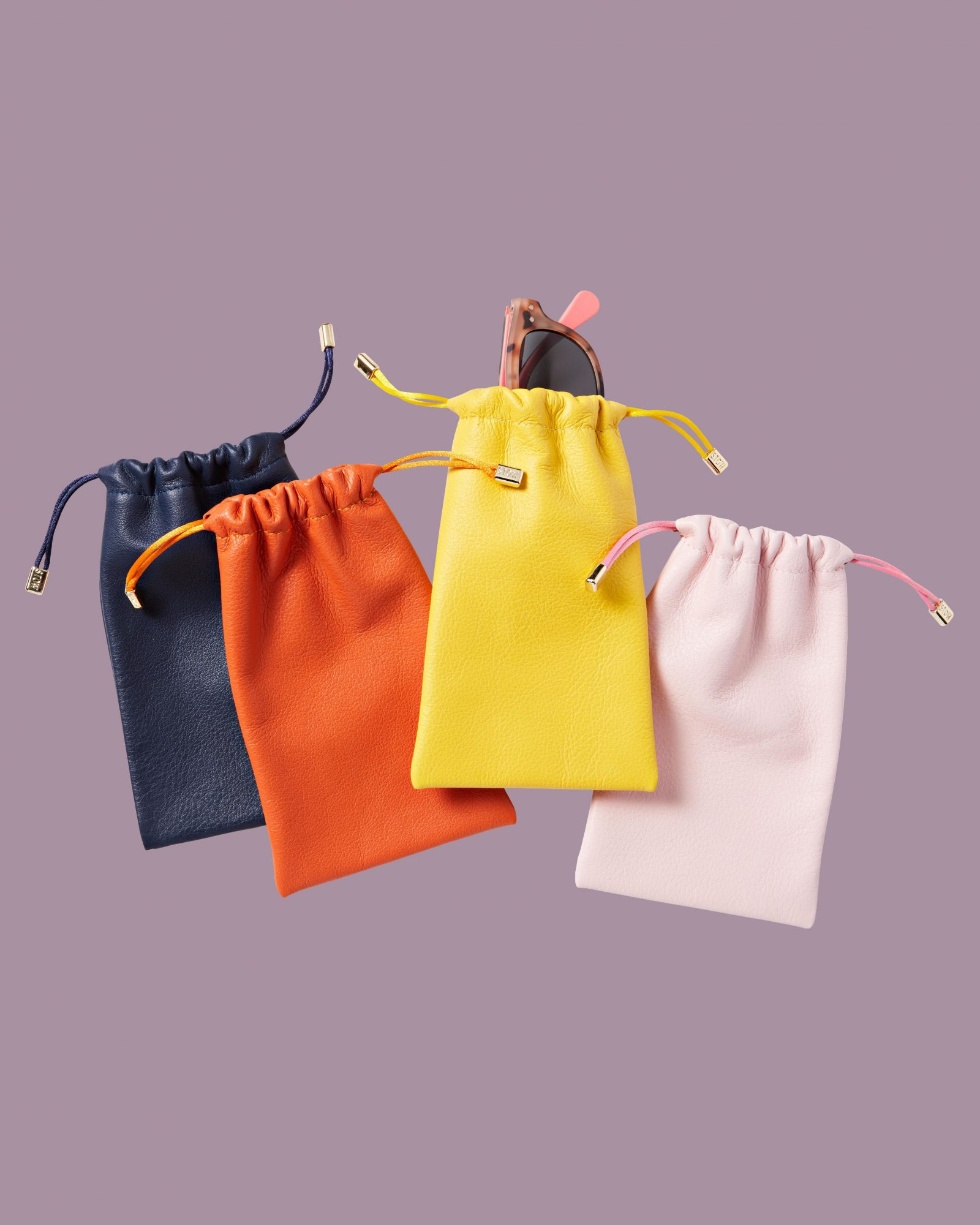 colorful leather pouches