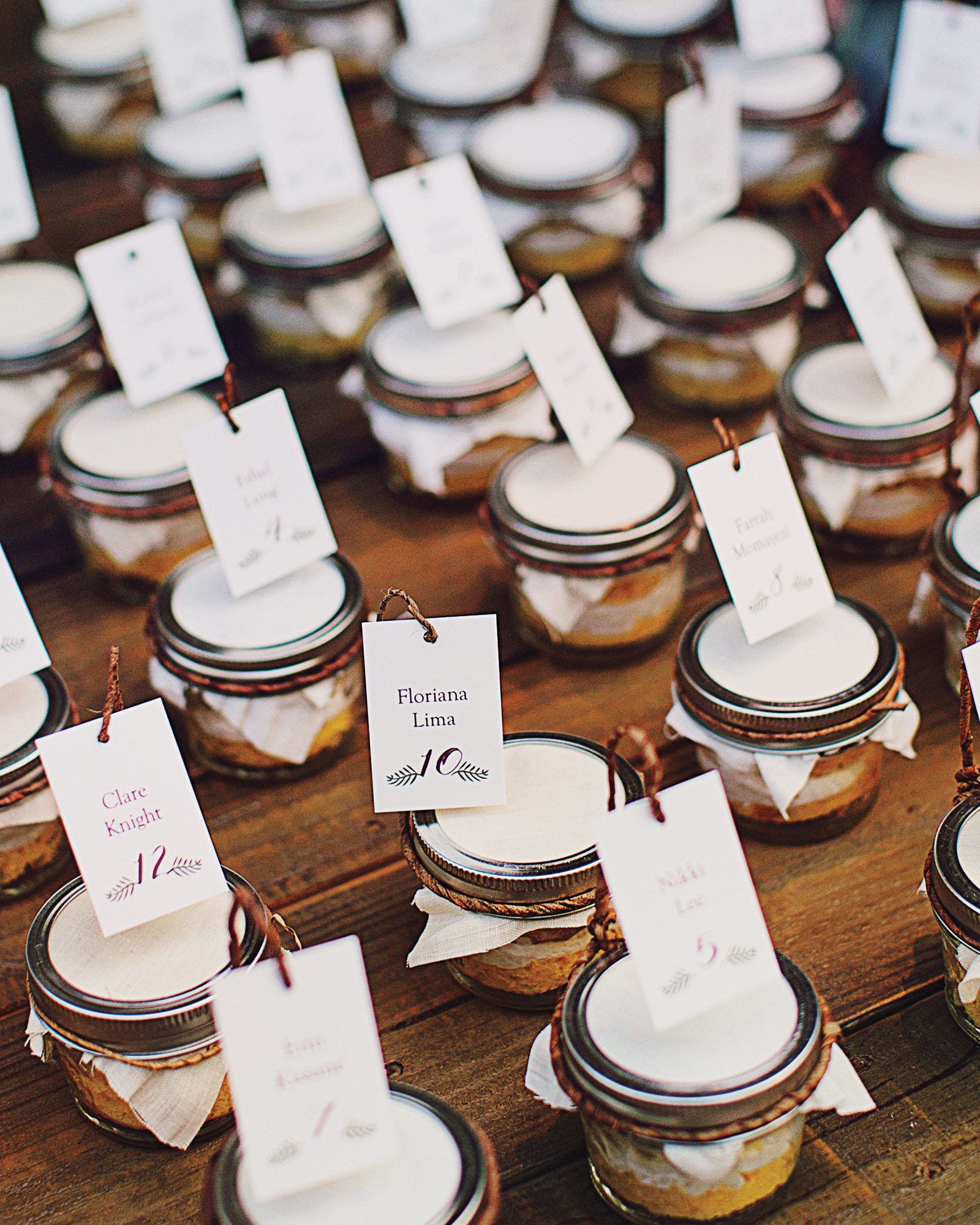 This bride didn't want her guests to leave the dance floor for cake, so she sent them home with jars filled with Betty Crocker cake mix, instead. They also doubled as escort cards.