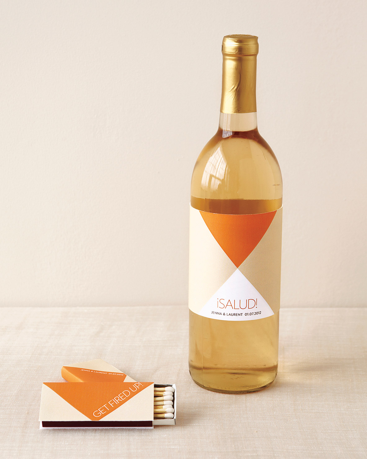 Geometric Wine Label and Matchbox Favors