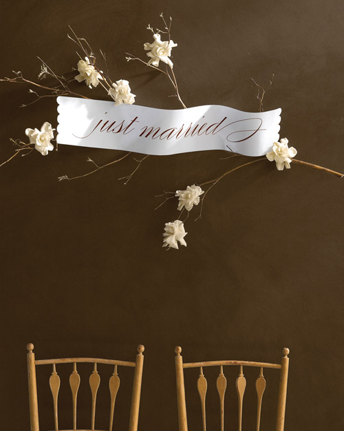 Calligraphed  Just Married  Sign