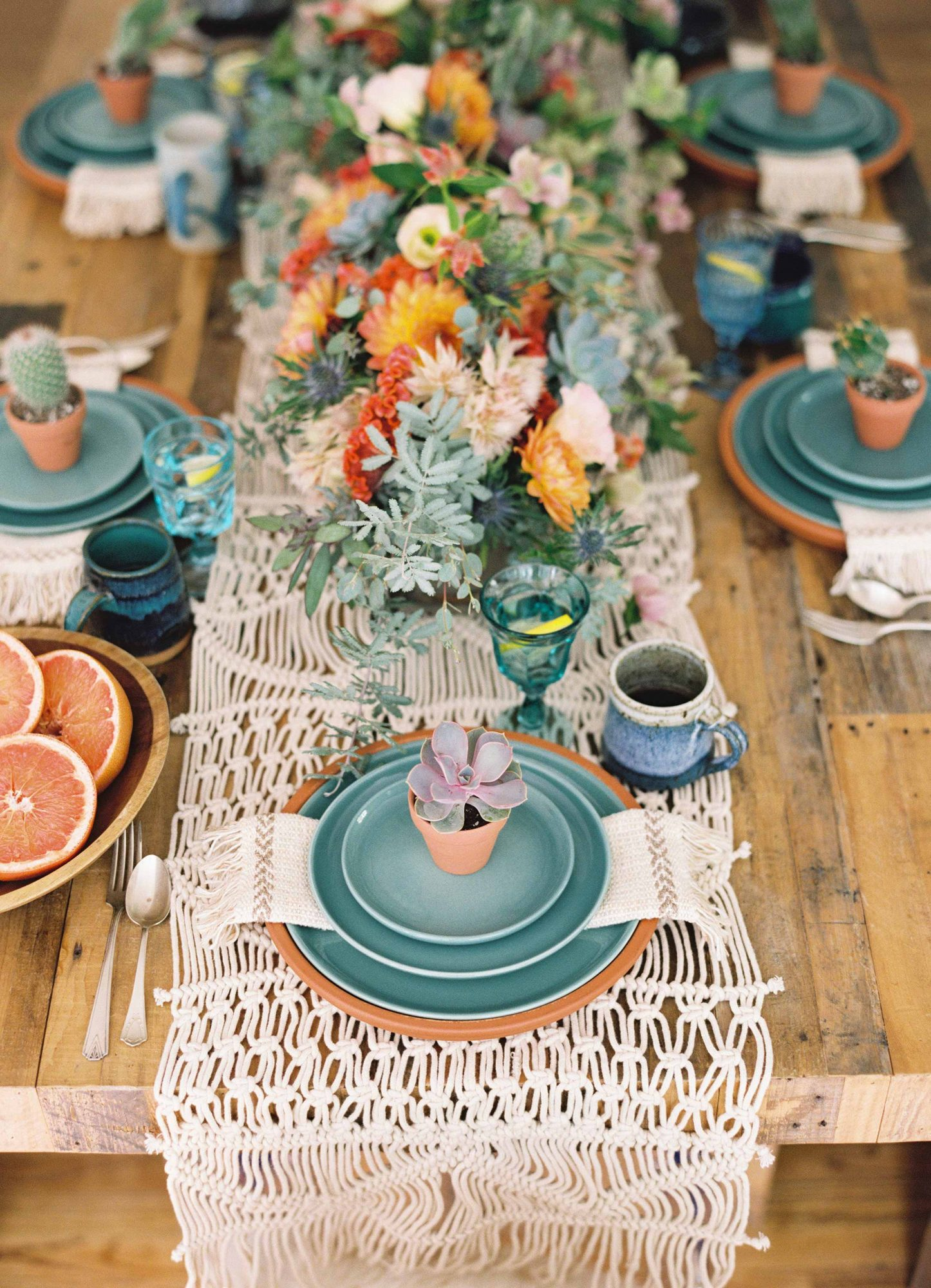 blue plate placesetting succulents