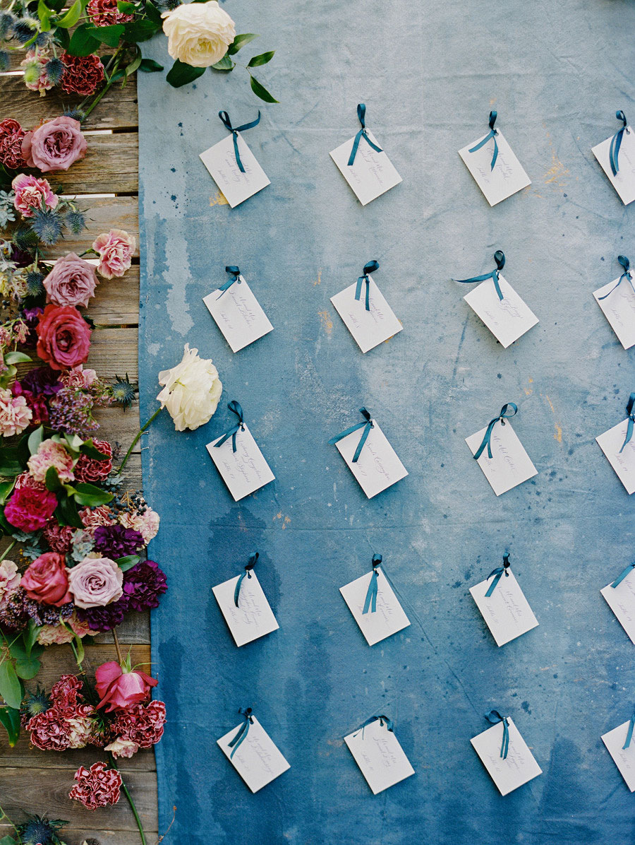 blue wall place cards
