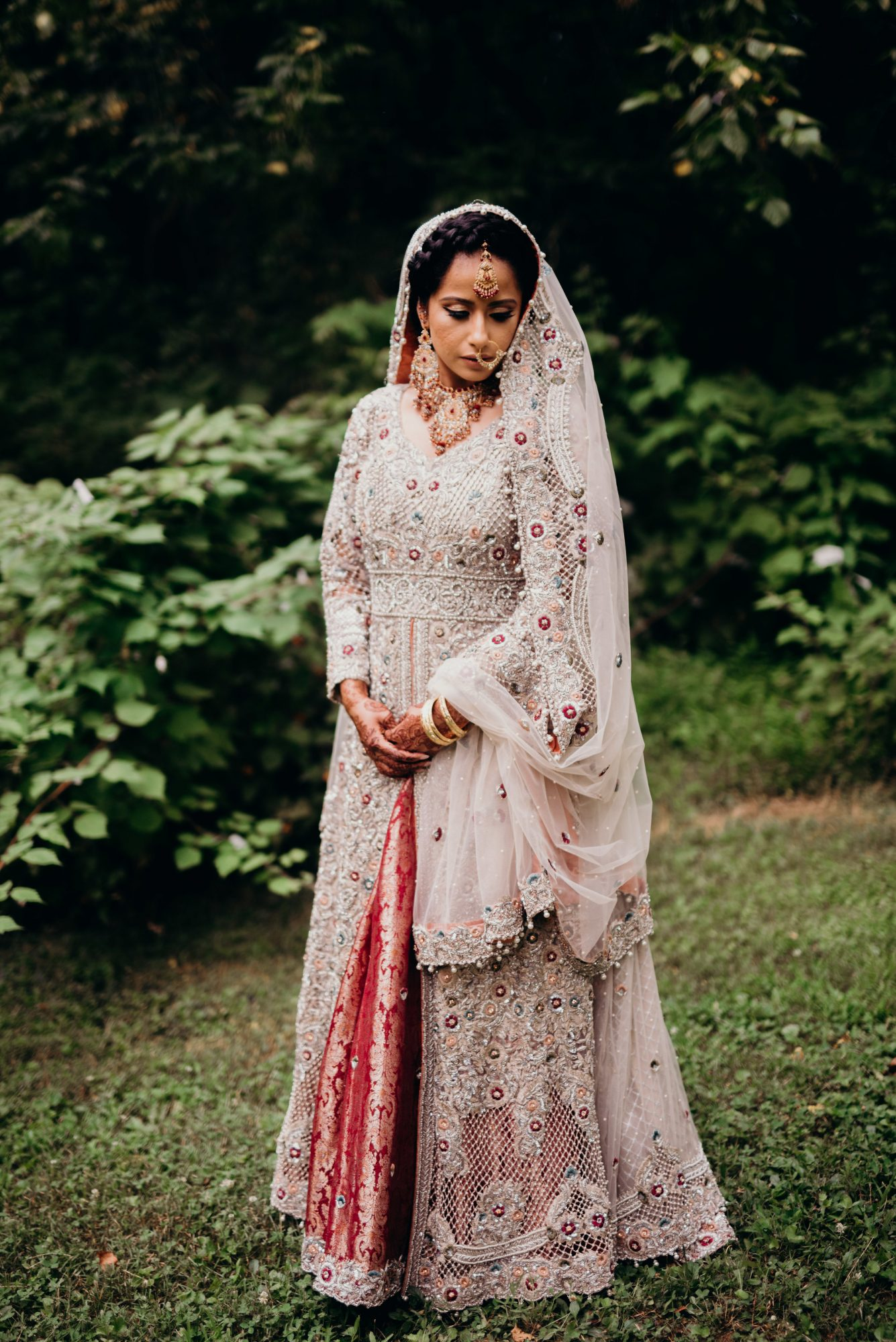 red and silver embroidered lehenga