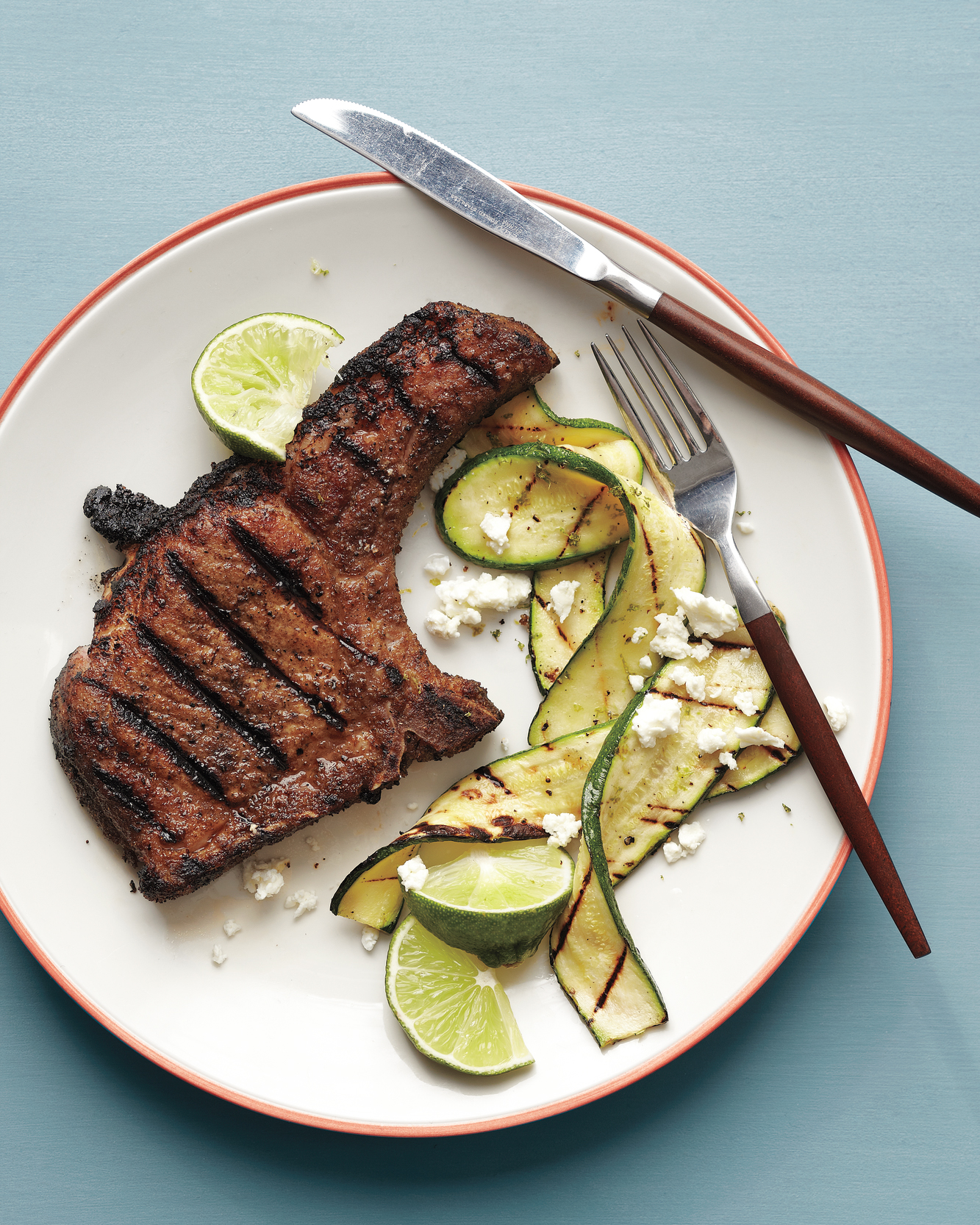 Spice-Rubbed Pork Chops with Grilled Zucchini