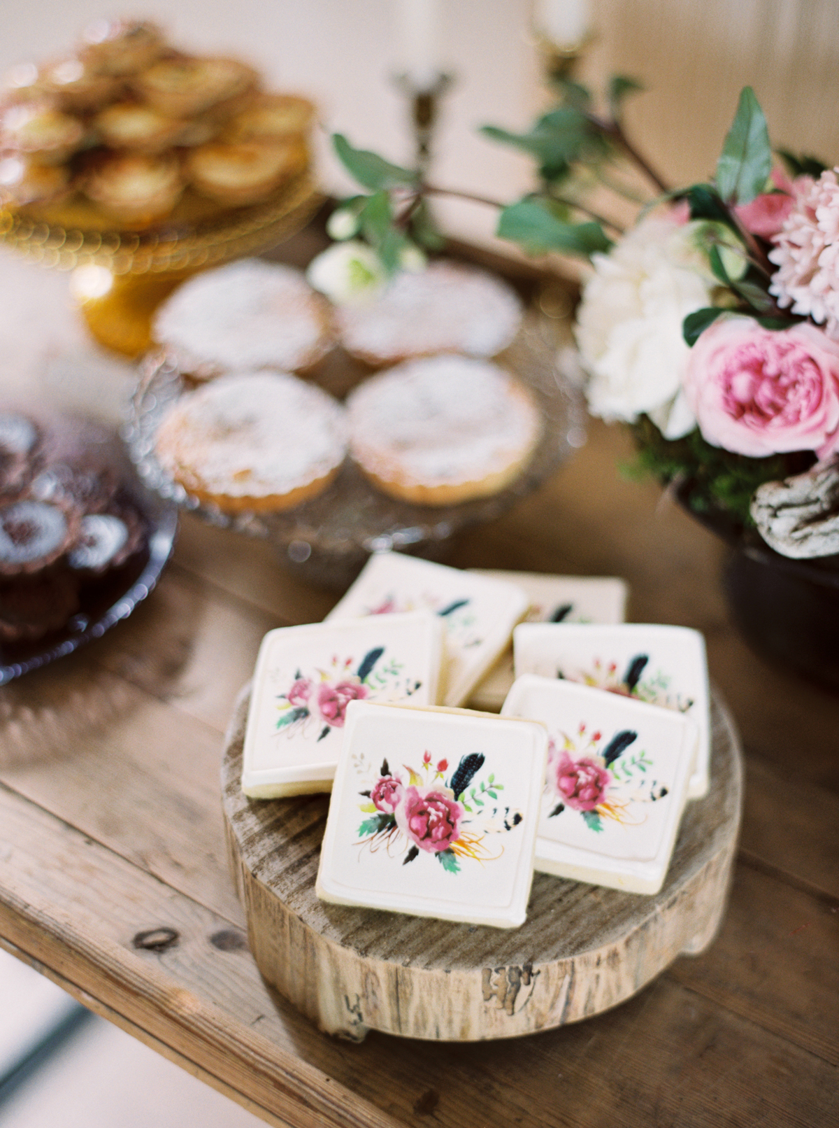 floral frosted design square cookies
