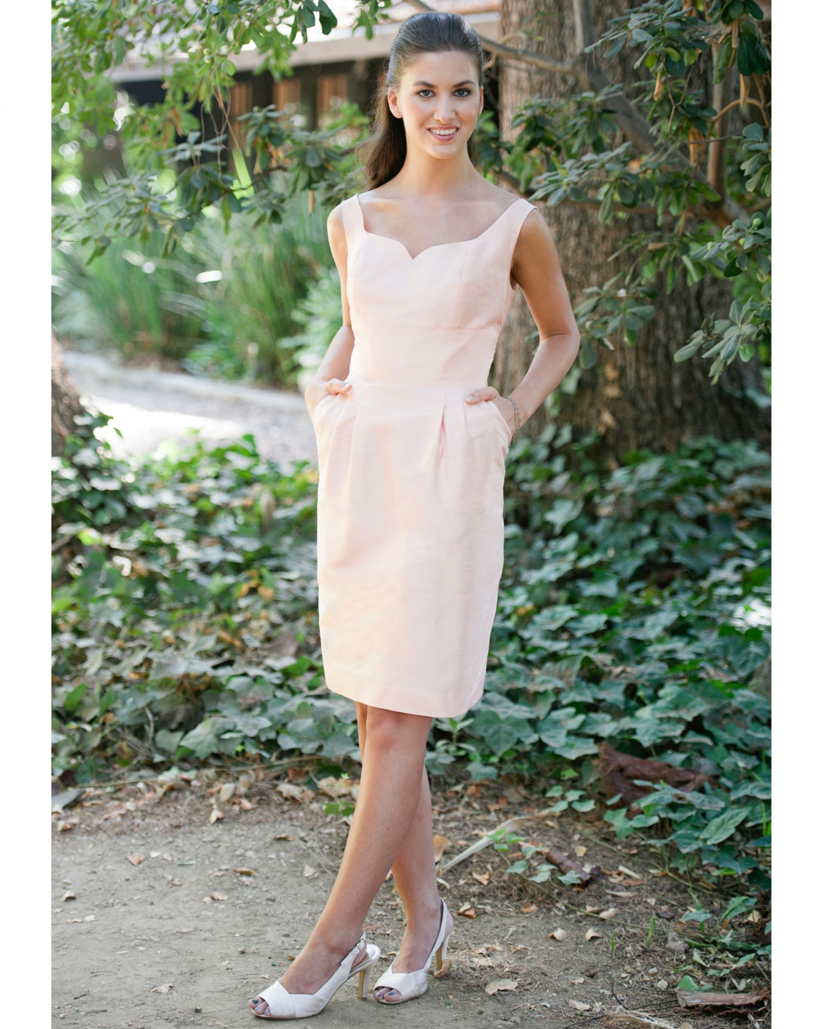 Short Peach Bridesmaid Dress