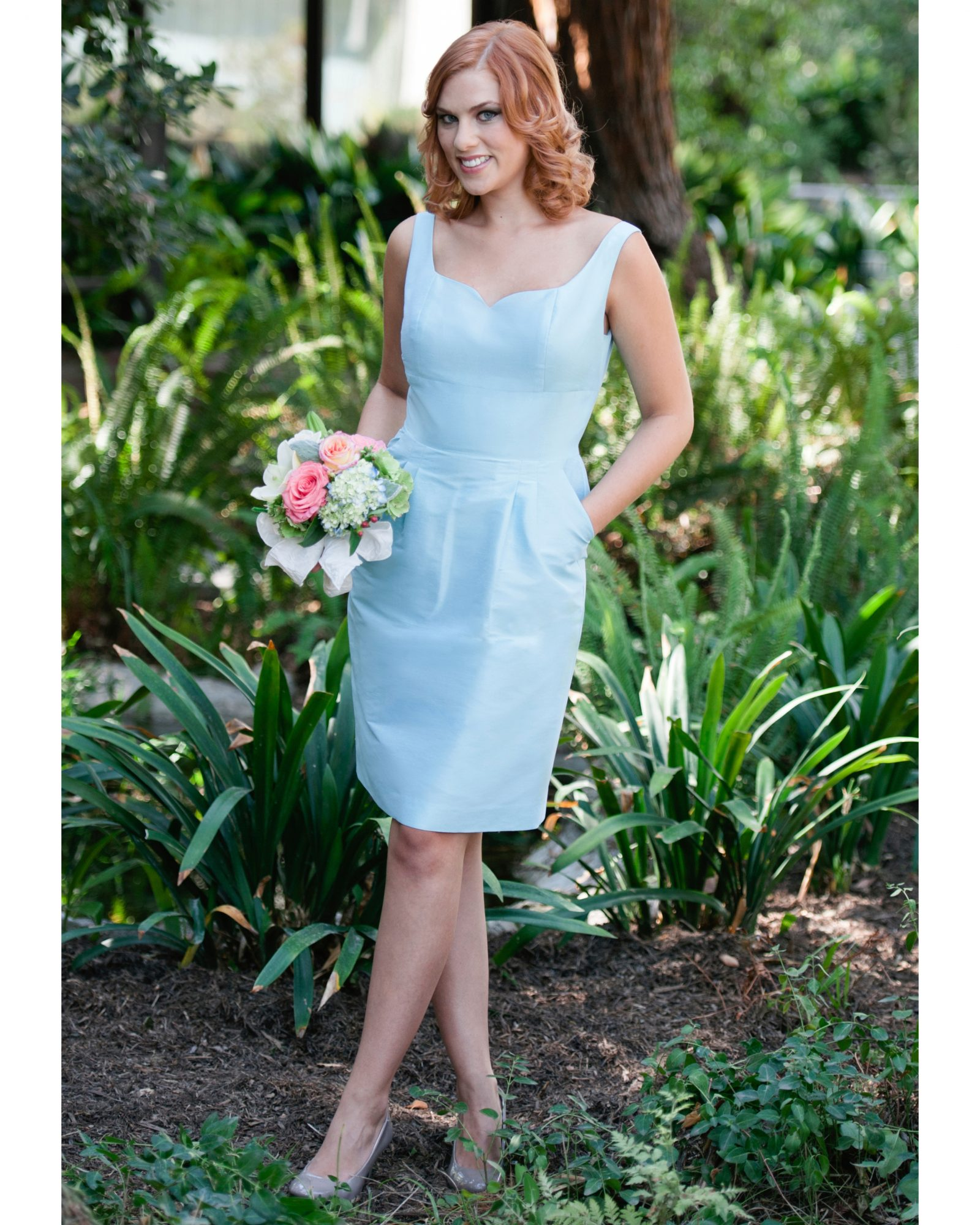 Short Blue Bridesmaid Dress