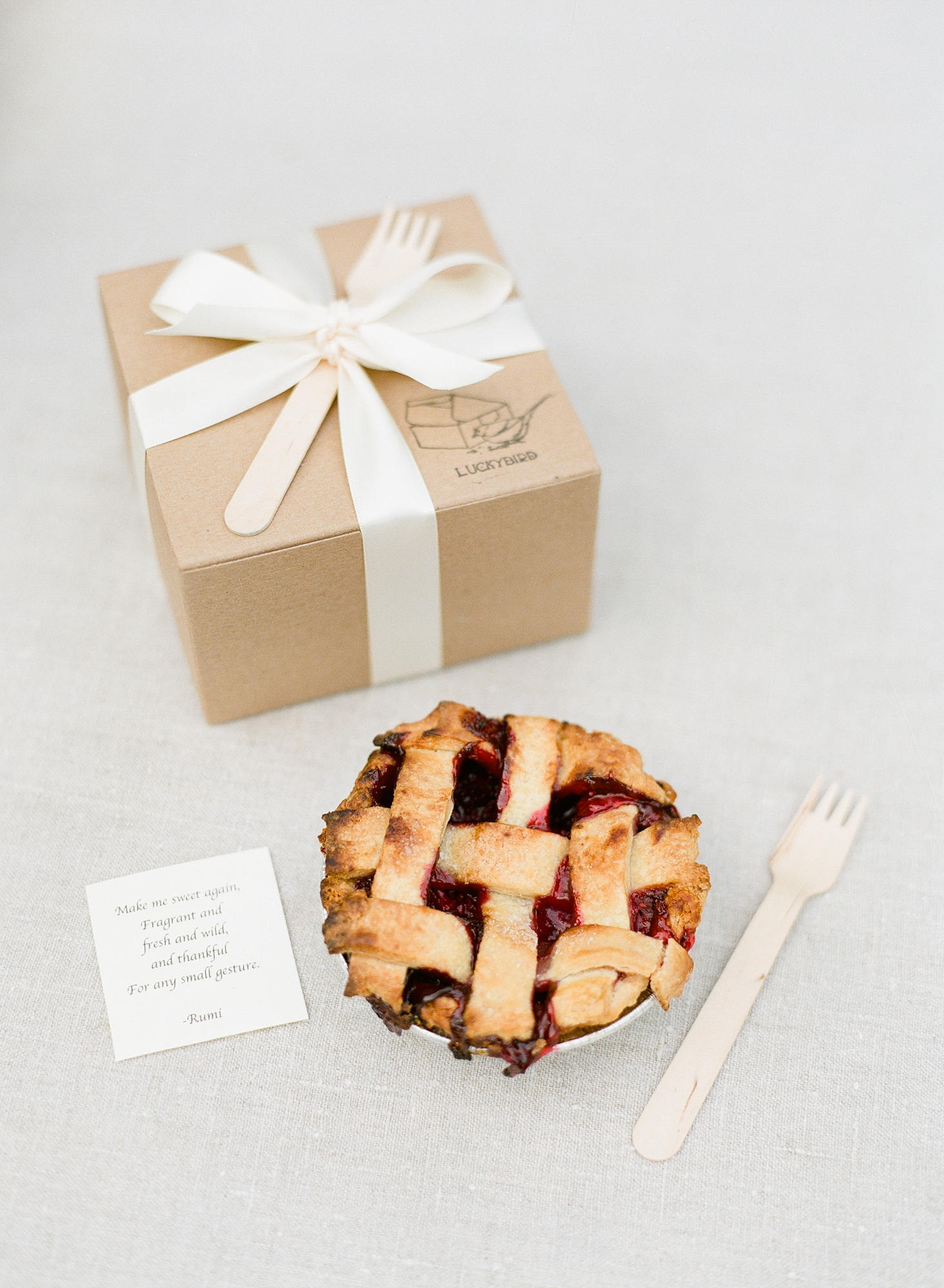 By the end of the night, guests have already indulged in cake, so why not send them home with a single-portion pie to go like this treat from Luckybird Bakery?