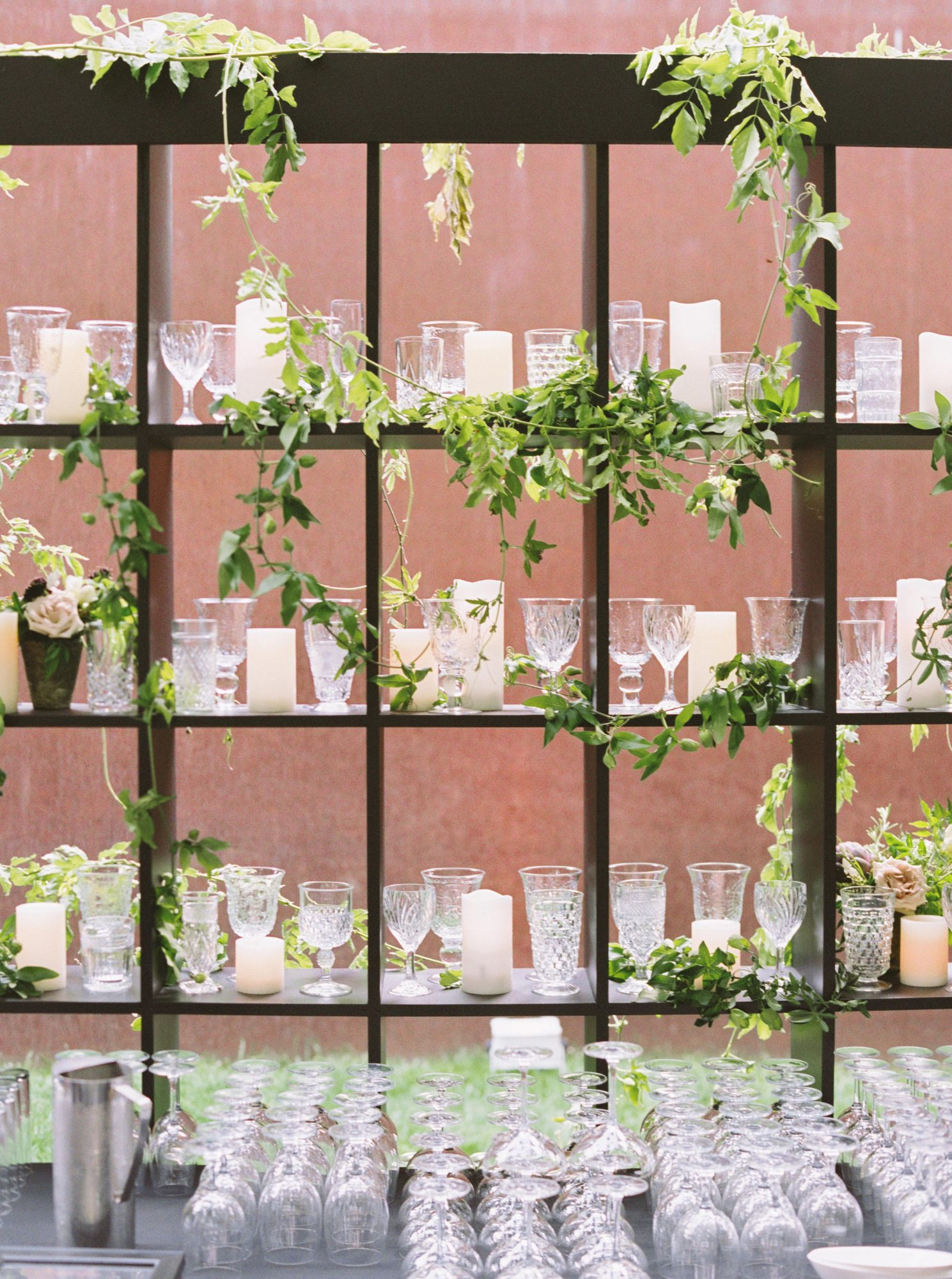 glassware and shelving