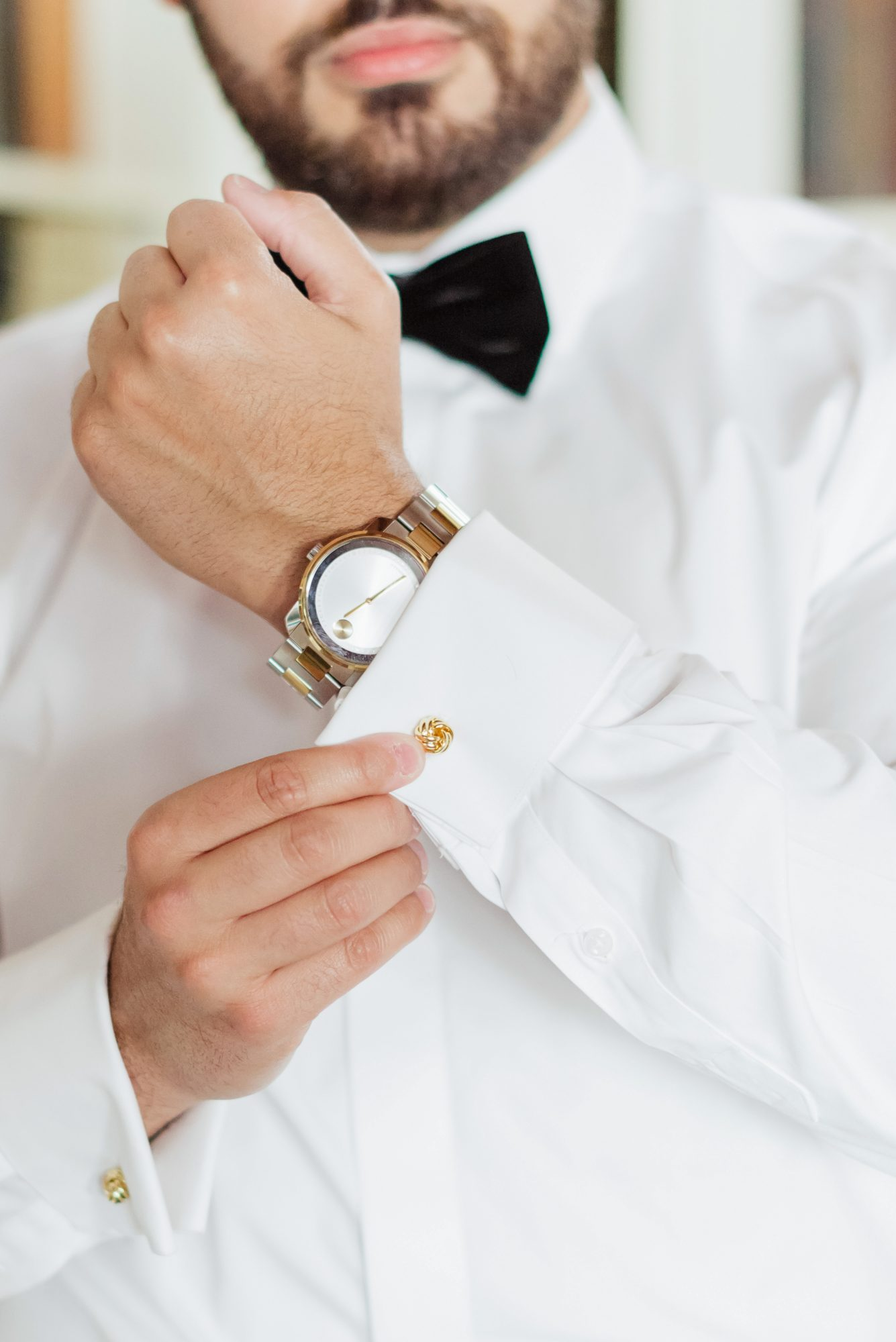 cool groom accessories watch matching gold cuff link