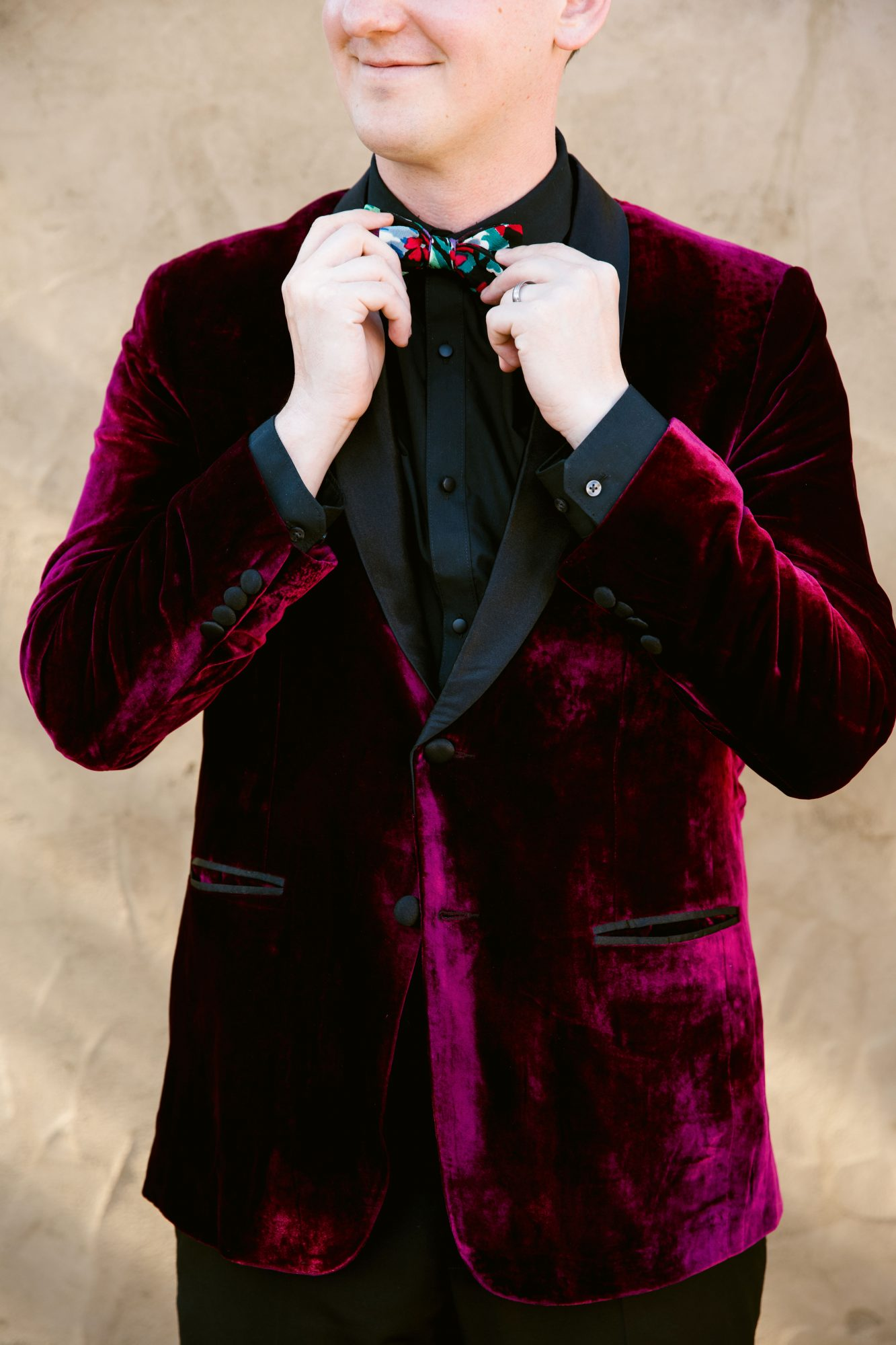 cool groom accessories colorful bowtie dark red suit