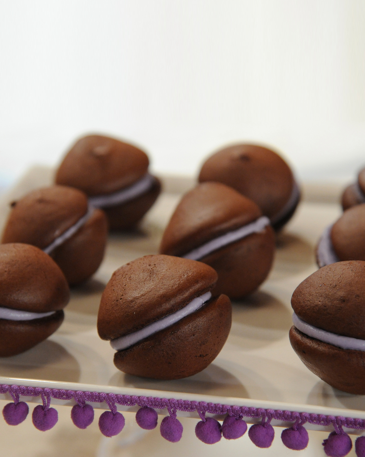 Chocolate Whoopie Pies with Cassis Filling