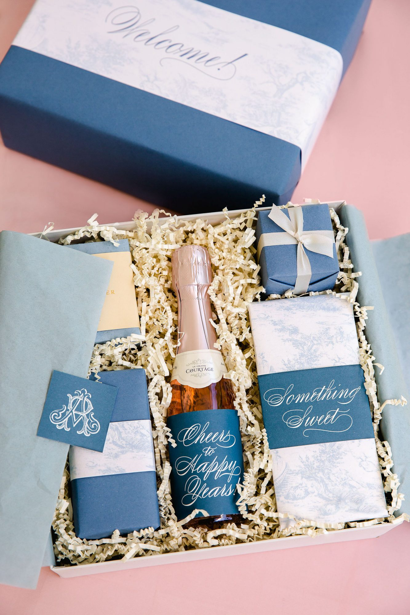 washington dc wedding welcome boxes champagne chocolate