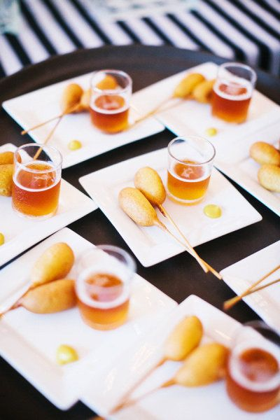 mini corn dogs and beer